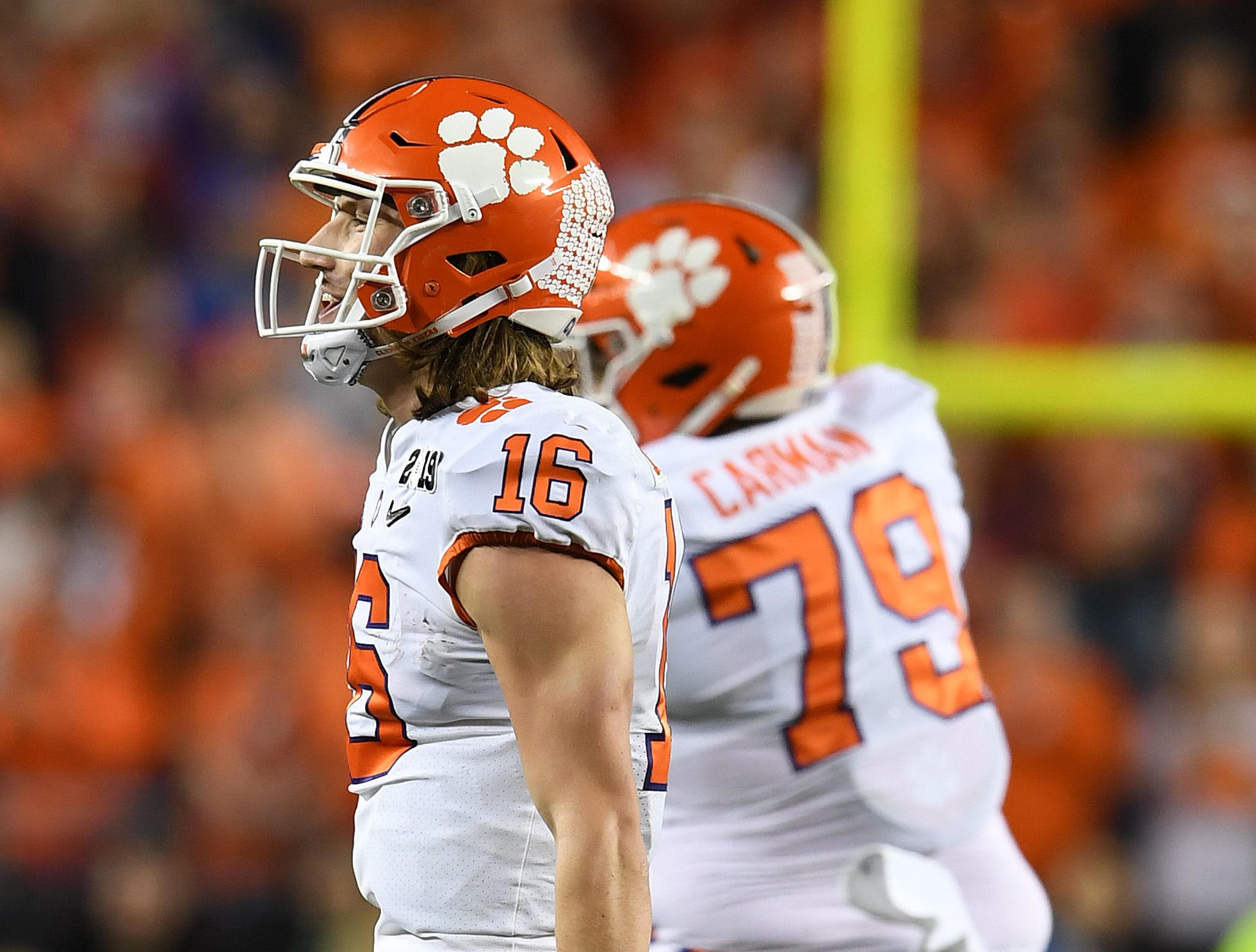 Clemson quarterback Trevor Lawrence (16) celebrates late in the 2nd half of the College Football National Championship at Levi's Stadium in Santa Clara, CA Monday, January 7, 2019.