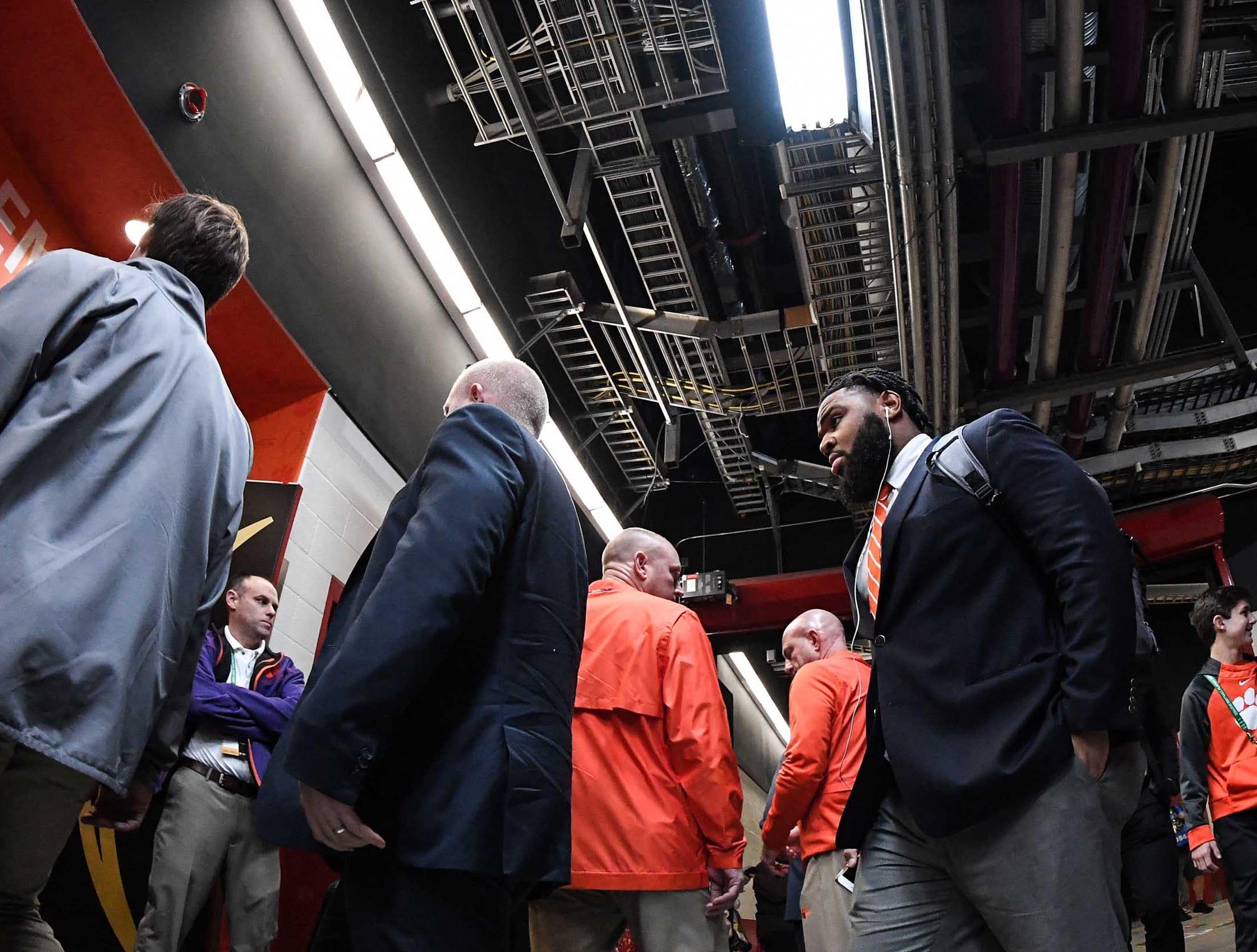 Clemson defensive lineman Christian Wilkins (42) arrives before kickoff at Levi's Stadium in Santa Clara, California Monday, January 7, 2019.