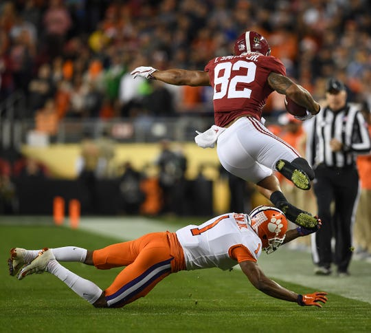 Clemson cornerback Trayvon Mullen (1)  brings down Alabama tight end Irv Smith Jr. (82) during the 1st quarter of the College Football National Championship at Levi's Stadium in Santa Clara, CA Monday, January 7, 2019.
