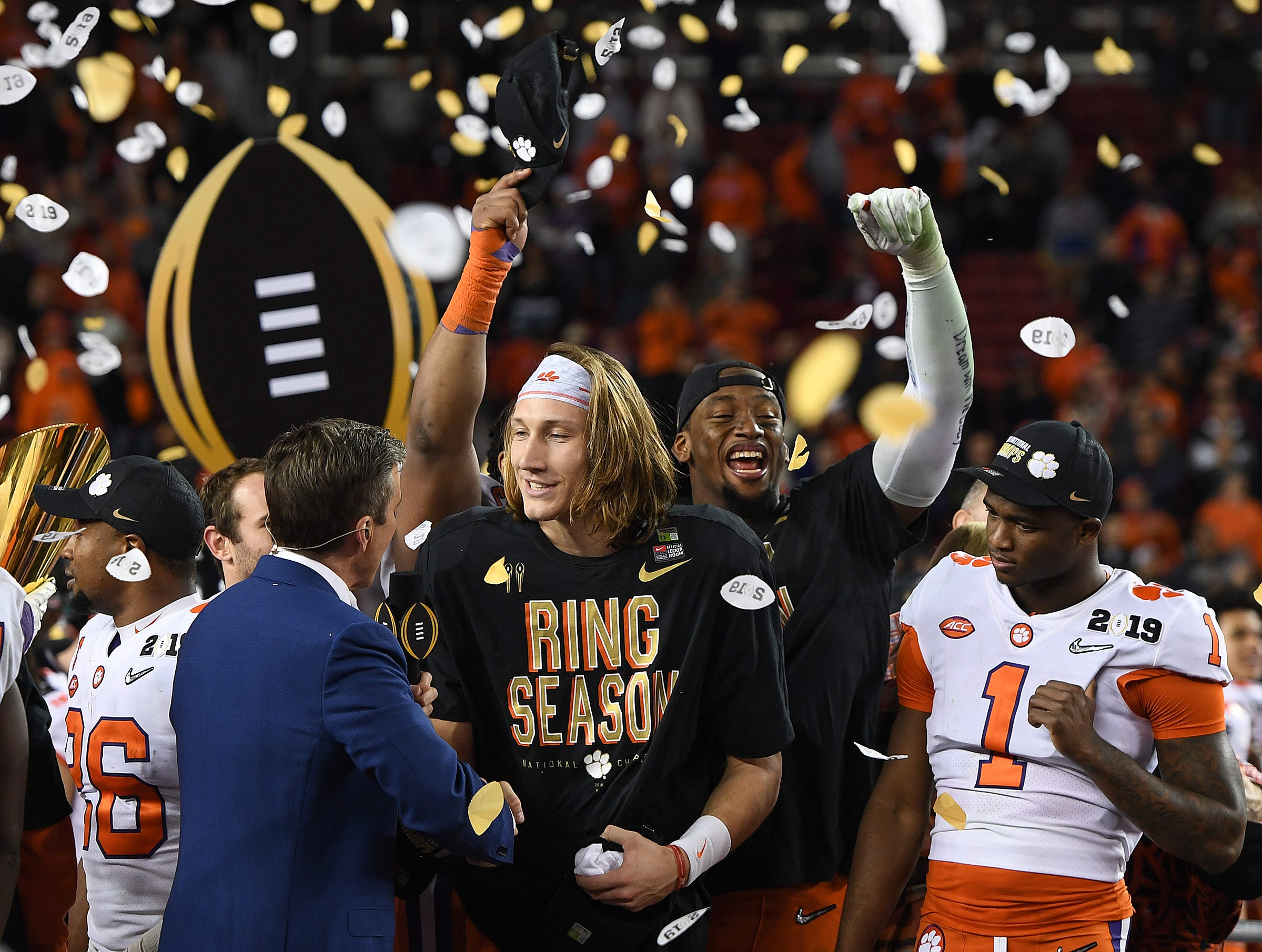 Clemson quarterback Trevor Lawrence is named offensive MVP by nterviewed by ESPN's Race Davis after the Tigers defeated Alabama 44-16 in College Football National Championship game at Levi's Stadium in Santa Clara, CA Monday, January 7, 2019.