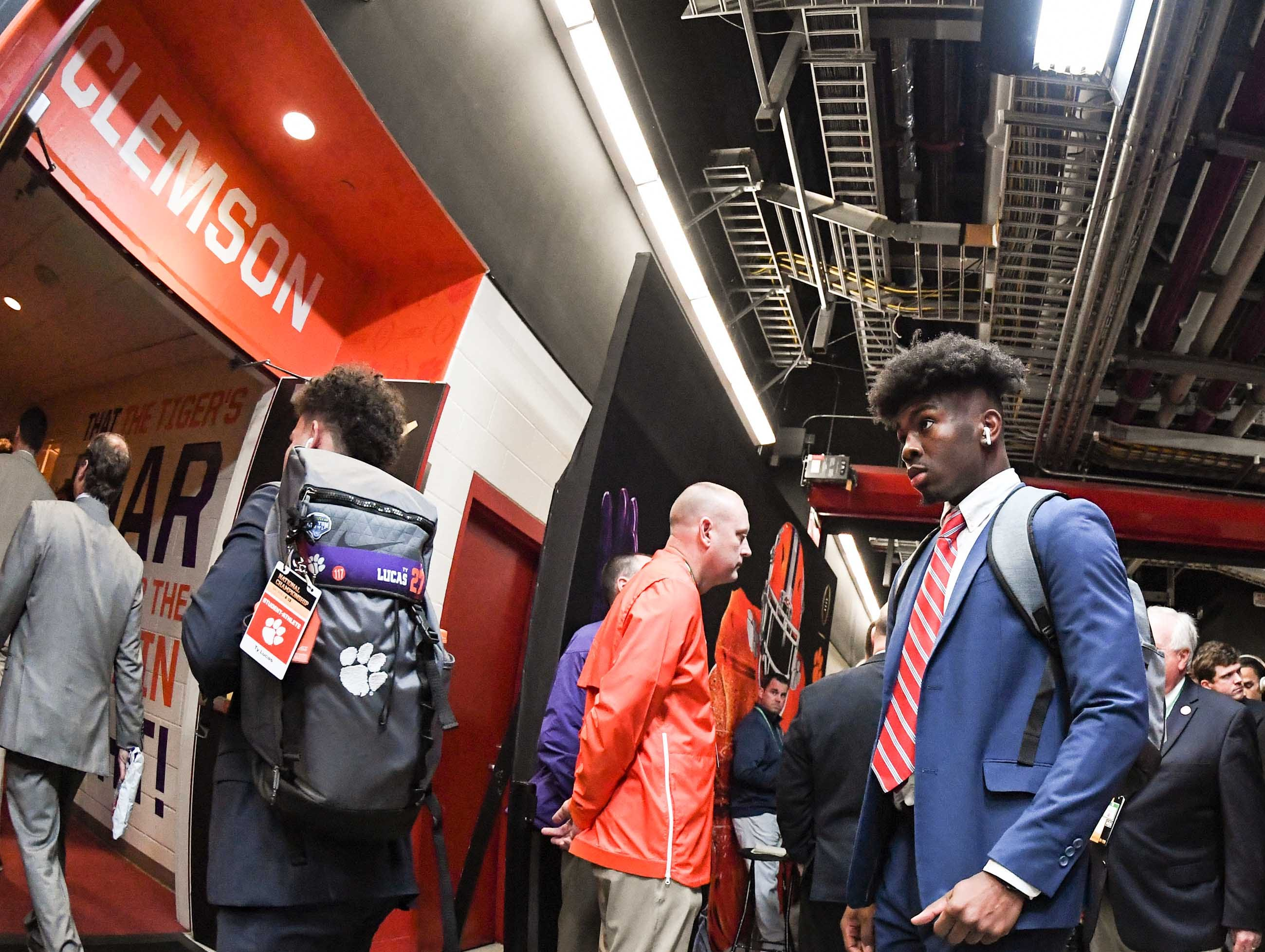 Clemson wide receiver Justyn Ross (8) arrives before kickoff at Levi's Stadium in Santa Clara, California Monday, January 7, 2019.