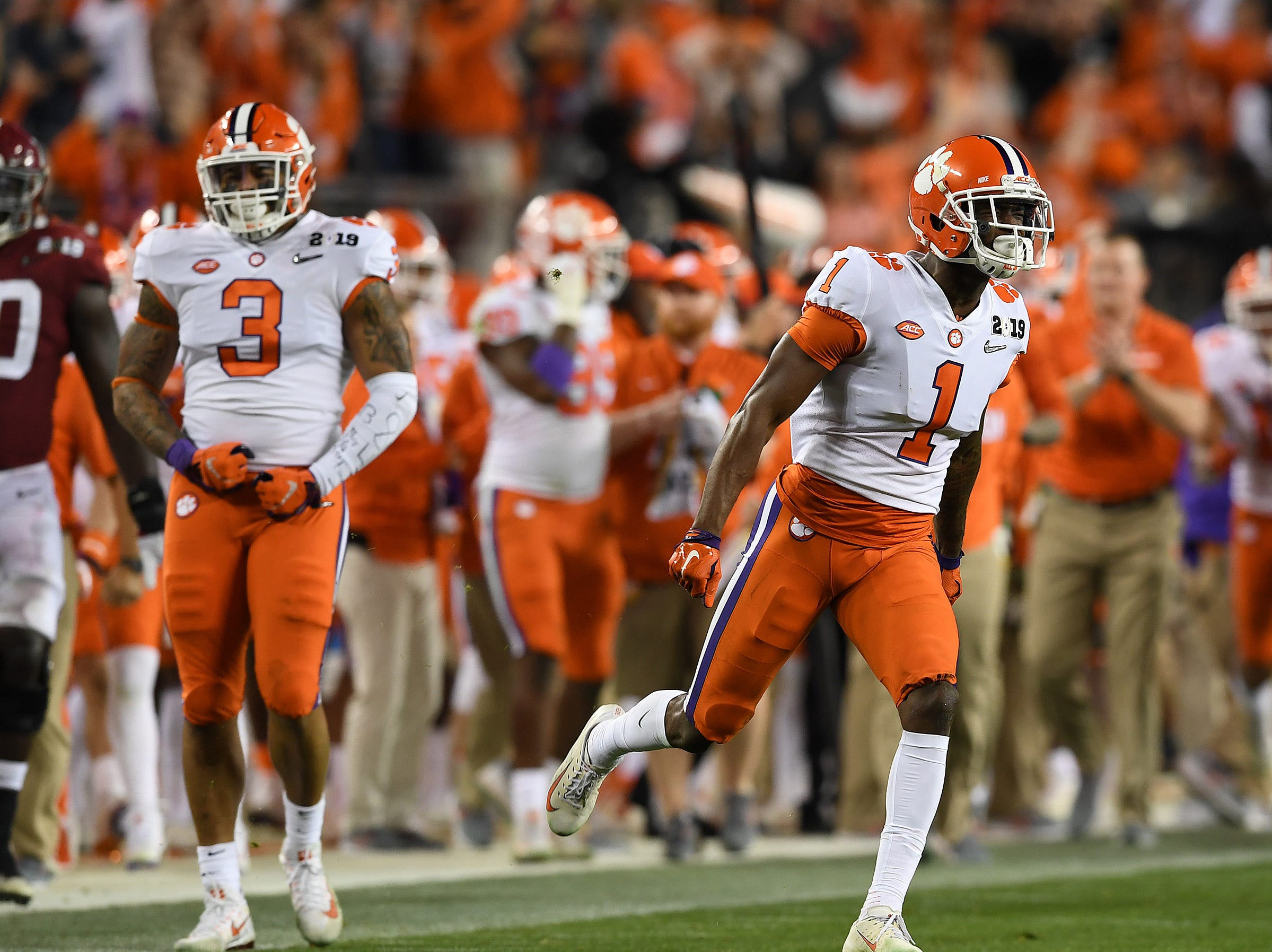 Clemson cornerback Trayvon Mullen (1) reacts after an interception against Alabama during the 2nd quarter of the College Football National Championship at Levi's Stadium in Santa Clara, CA Monday, January 7, 2019.