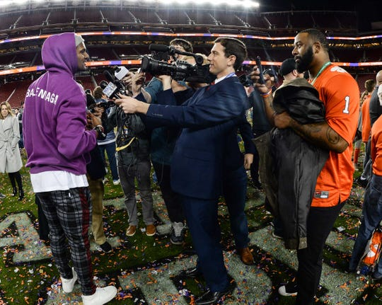 Former quarterbacks Deshaun Watson and Tajh Boyd are interviewed after a 44-16 win over Alabama at the College Football Championship game at Levi's Stadium in Santa Clara, California Monday, January 7, 2019.