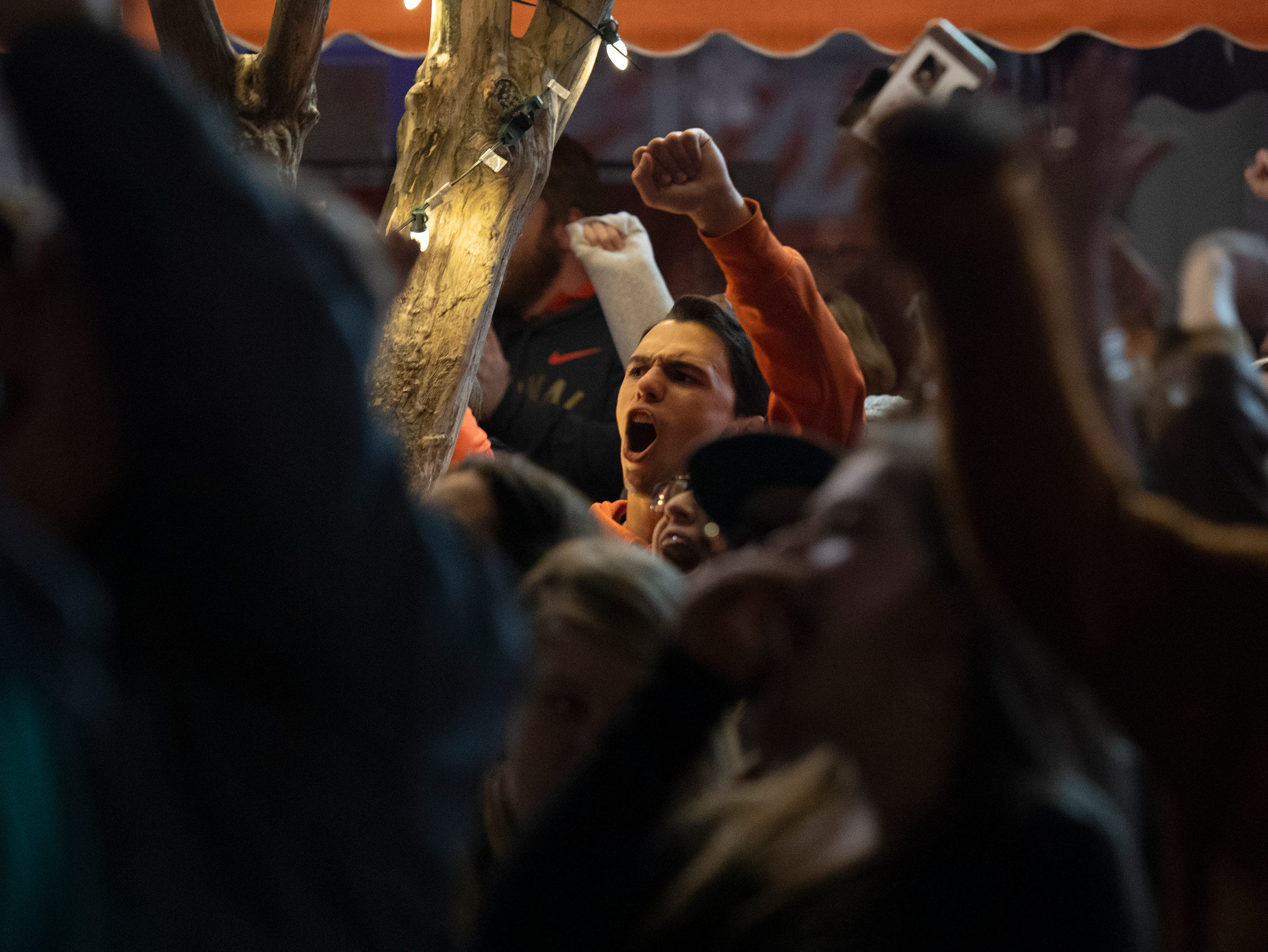 Clemson fans gather on College Avenue to watch Clemson play Alabama in the College Football Playoff National Championship Monday, Jan. 7, 2019.