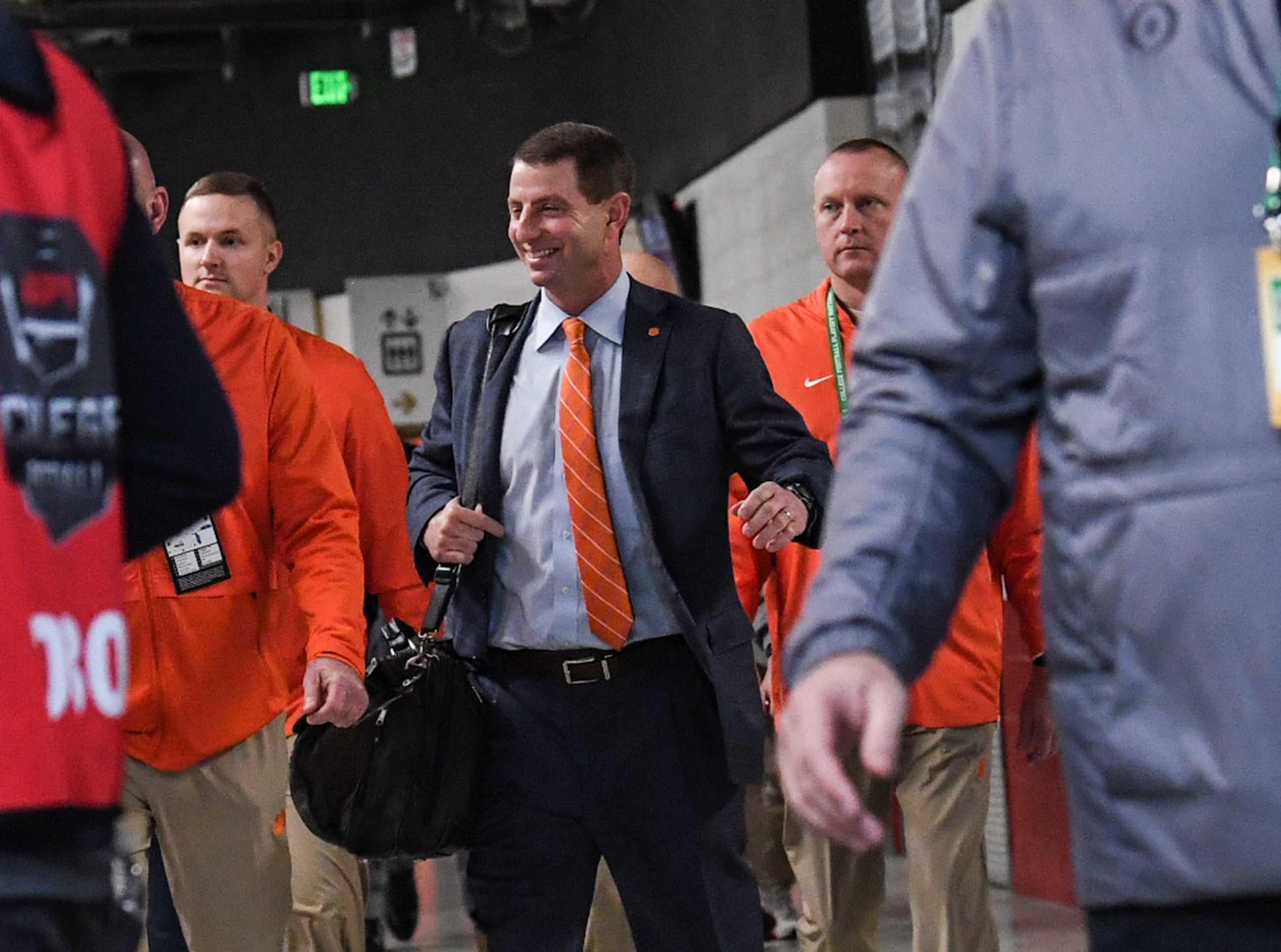 Clemson Head Coach Dabo Swinney arrives before kickoff at Levi's Stadium in Santa Clara, California Monday, January 7, 2019.