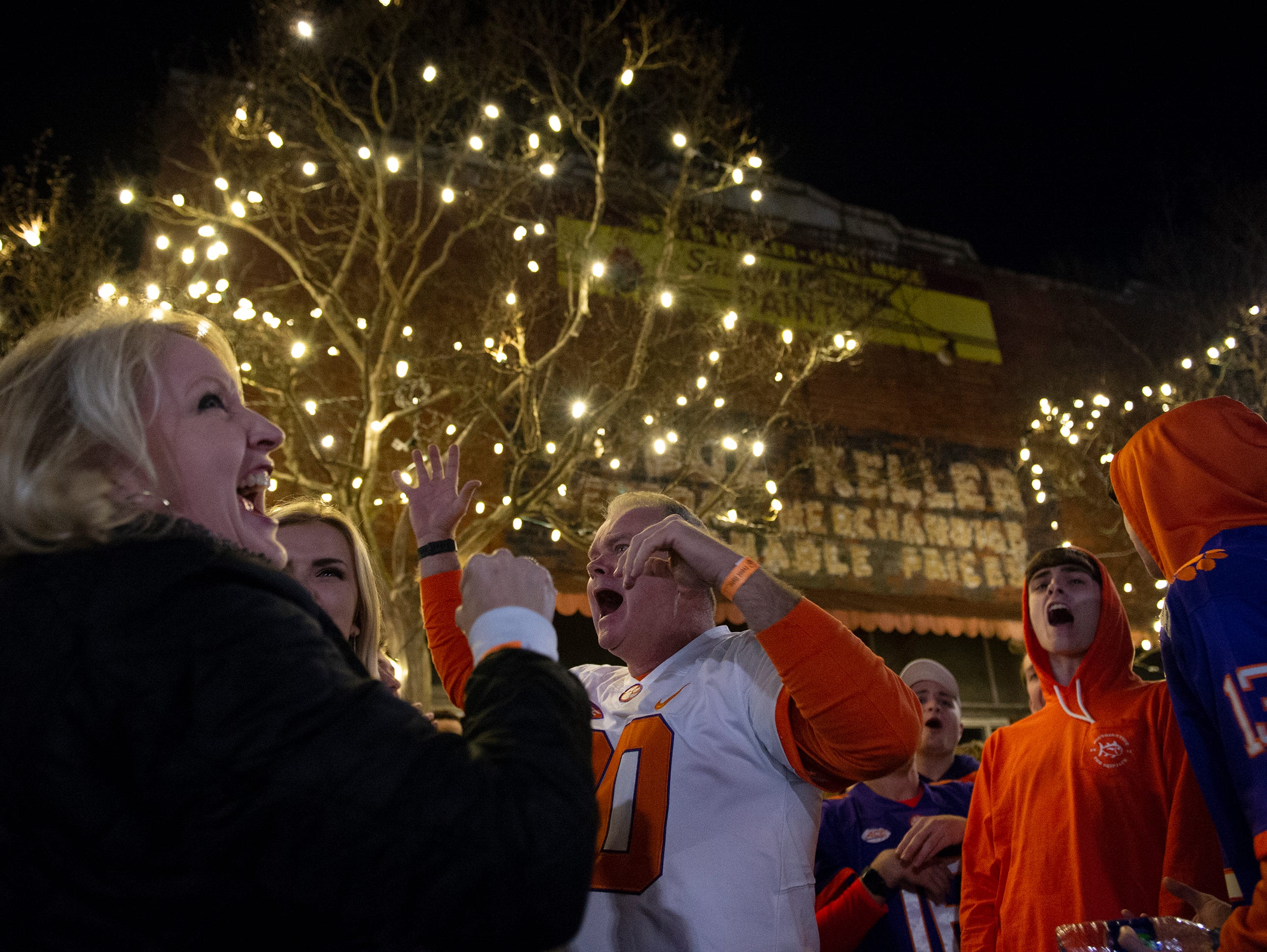 From left, Stephanie Cozzi, Samantha Cozzi, Steve Cozzi, Seth Warren and Jake George celebrate a Clemson touchdown while watching Clemson play Alabama in the College Football Playoff National Championship Monday, Jan. 7, 2019. Steve and Stephanie Cozzi travelled from New Jersey to watch the game with their daughter Samantha, a junior. George and Warren are both freshman at Clemson.