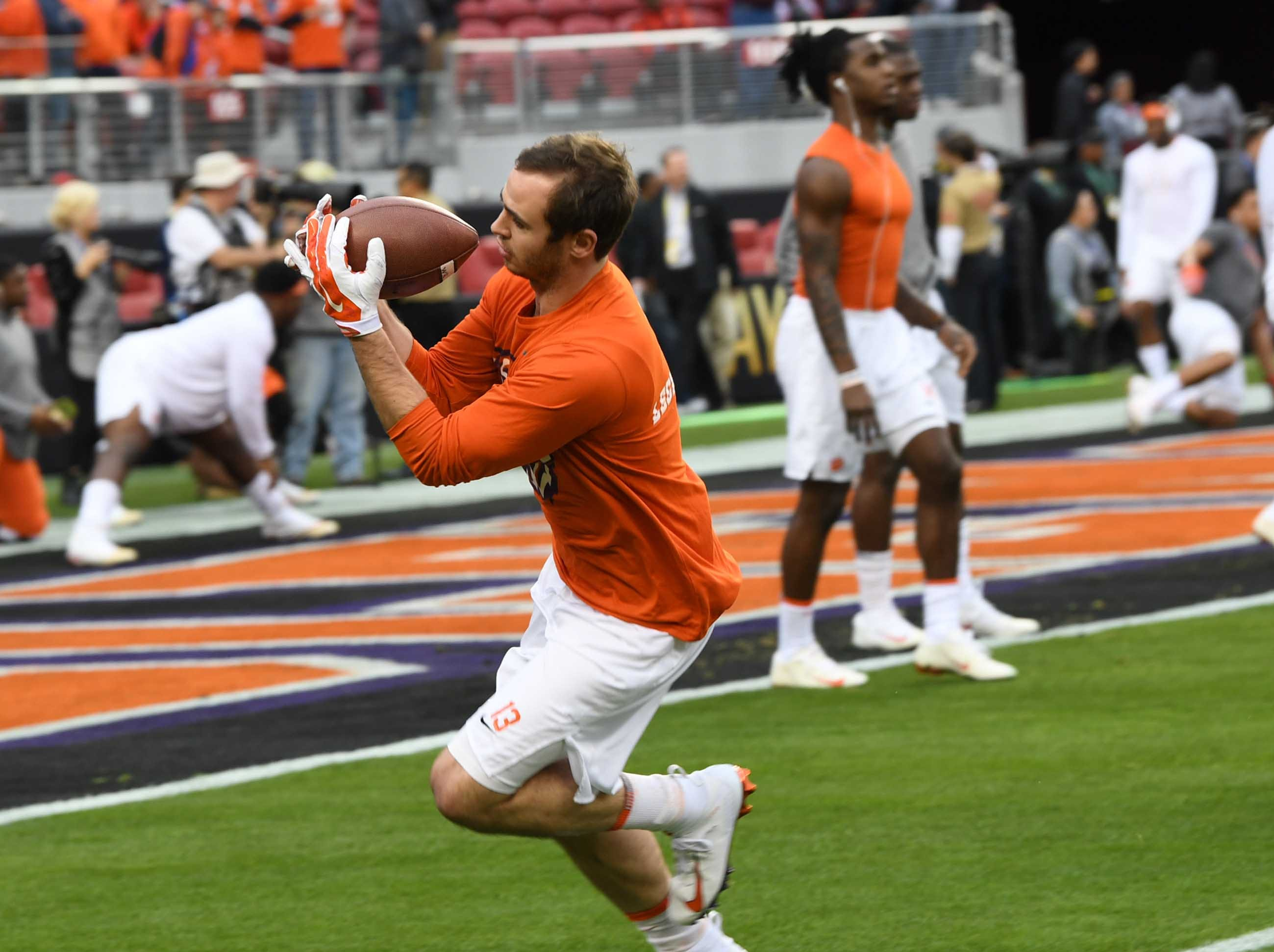 Clemson wide receiver Hunter Renfrow (13) practices before kickoff at Levi's Stadium in Santa Clara, California Monday, January 7, 2019.