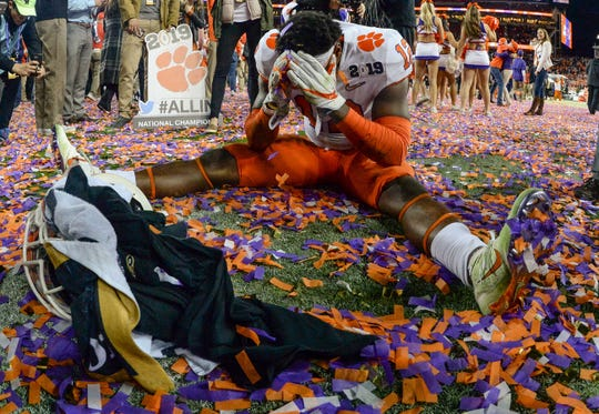 Clemson defensive back K'Von Wallace (12) reacts after the Tigers beat Alabama 44-16 to win the National Championship after the College Football Championship game at Levi's Stadium in Santa Clara, California Monday, January 7, 2019.