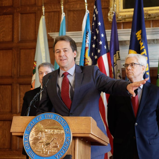 Gov. Steve Bullock presents findings Tuesday from a state report on the benefits of Medicaid expansion.
