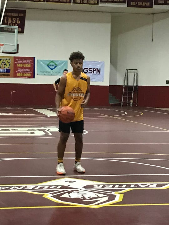 Father Duenas Friars' Tony Quinene at the free throw line during their game Monday against the George Washington Geckos at the 2019 GSPN Boys' Preseason Basketball tournament at the FD Jungle gym. The Friars (3-0) beat the Geckos (2-2) 74-51.