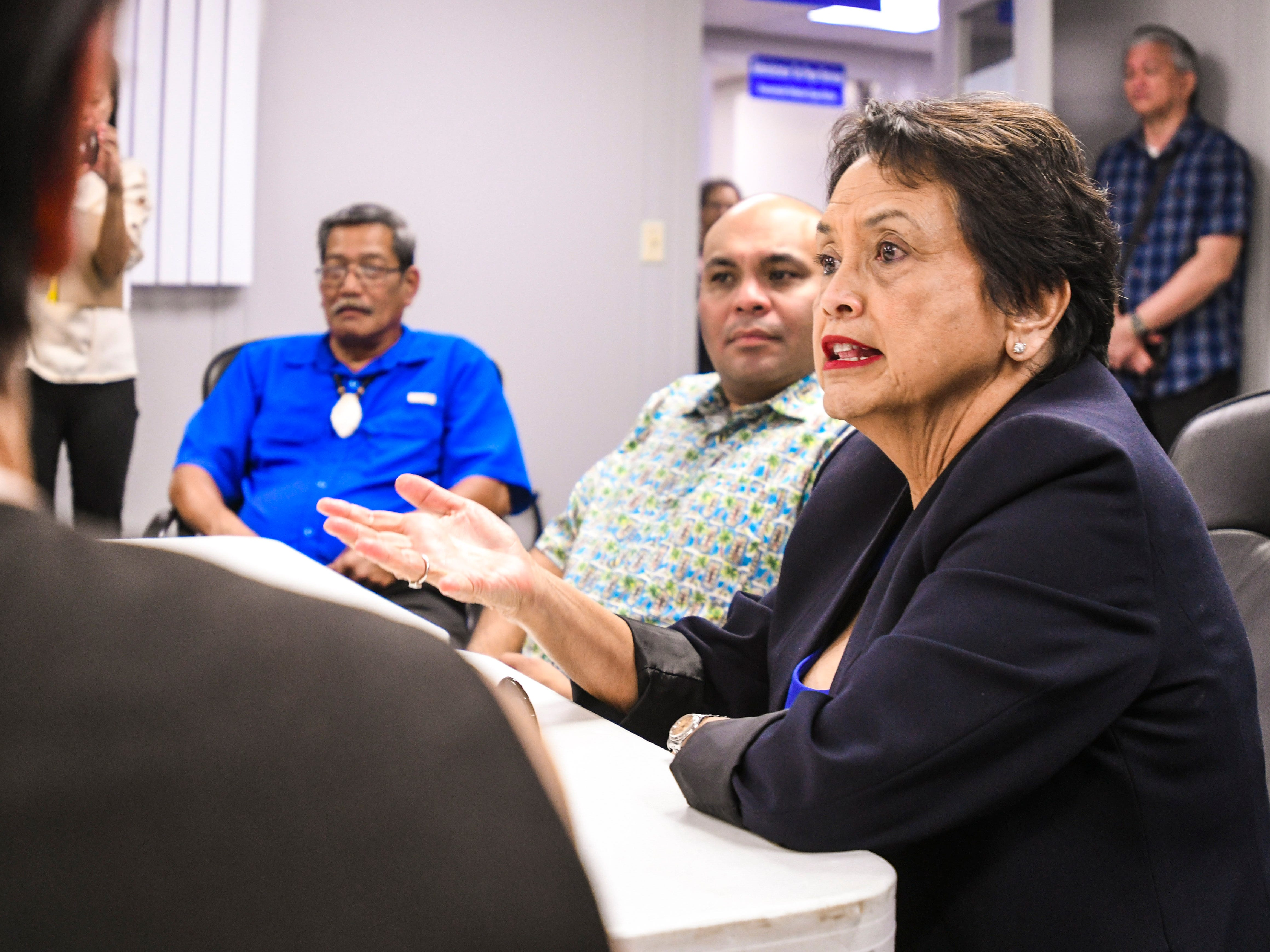 Gov. Lou Leon Guerrero addresses the Department of Revenue and Taxation leadership and department heads during her visit to the financial agency in Barrigada Heights on Tuesday, Jan. 8, 2019.