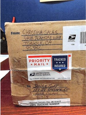 This image from federal court documents shows a priority mail package searched in August, which resulted in the seizure  of 57 grams of a substance which tested positive for methamphetamine.