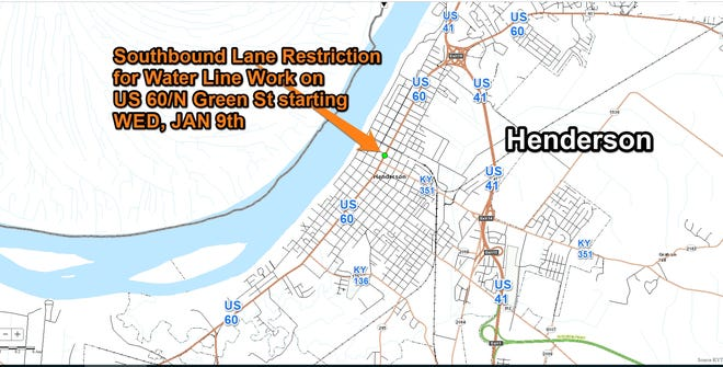 Starting Wednesday, Jan. 9, one lane of U.S. 60/Green Street will be closed for water utility work.
