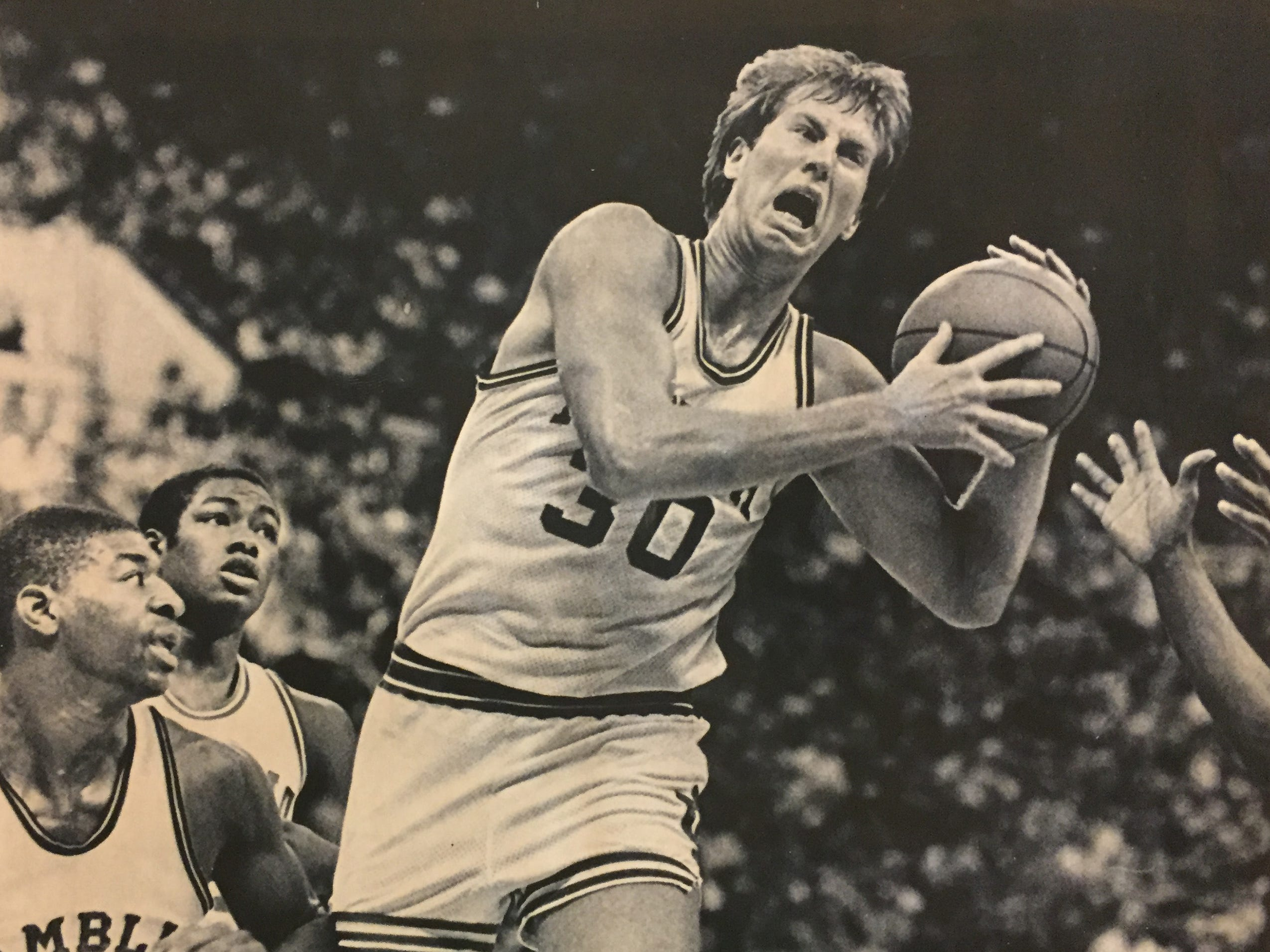 IU's Ted Kitchel pulls down the rebound against Grambling in the Indiana Classic, Dec. 29, 1982.