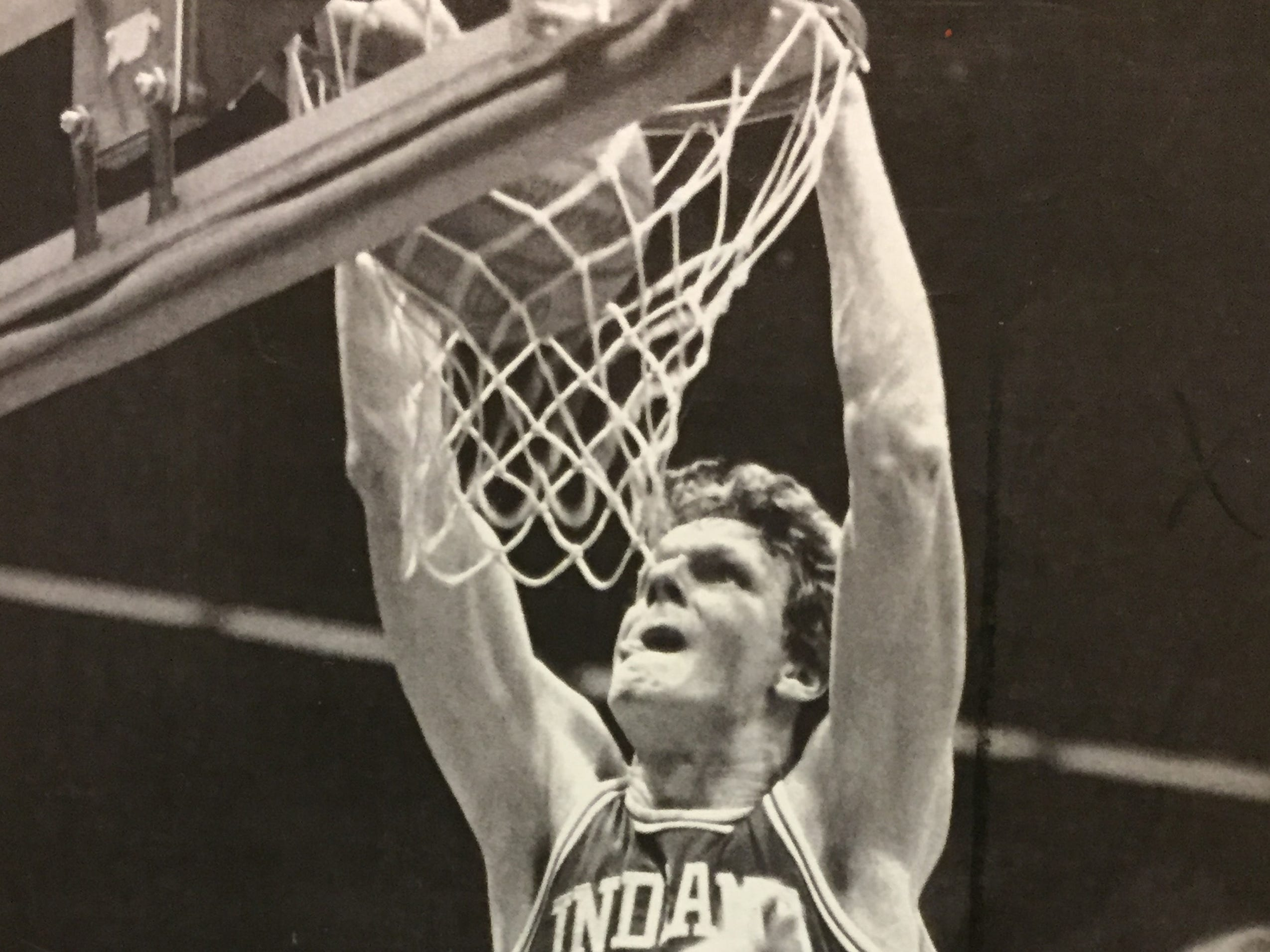 IU's Uwe Blab dunks the ball against Wisconsin on Feb. 3, 1983.