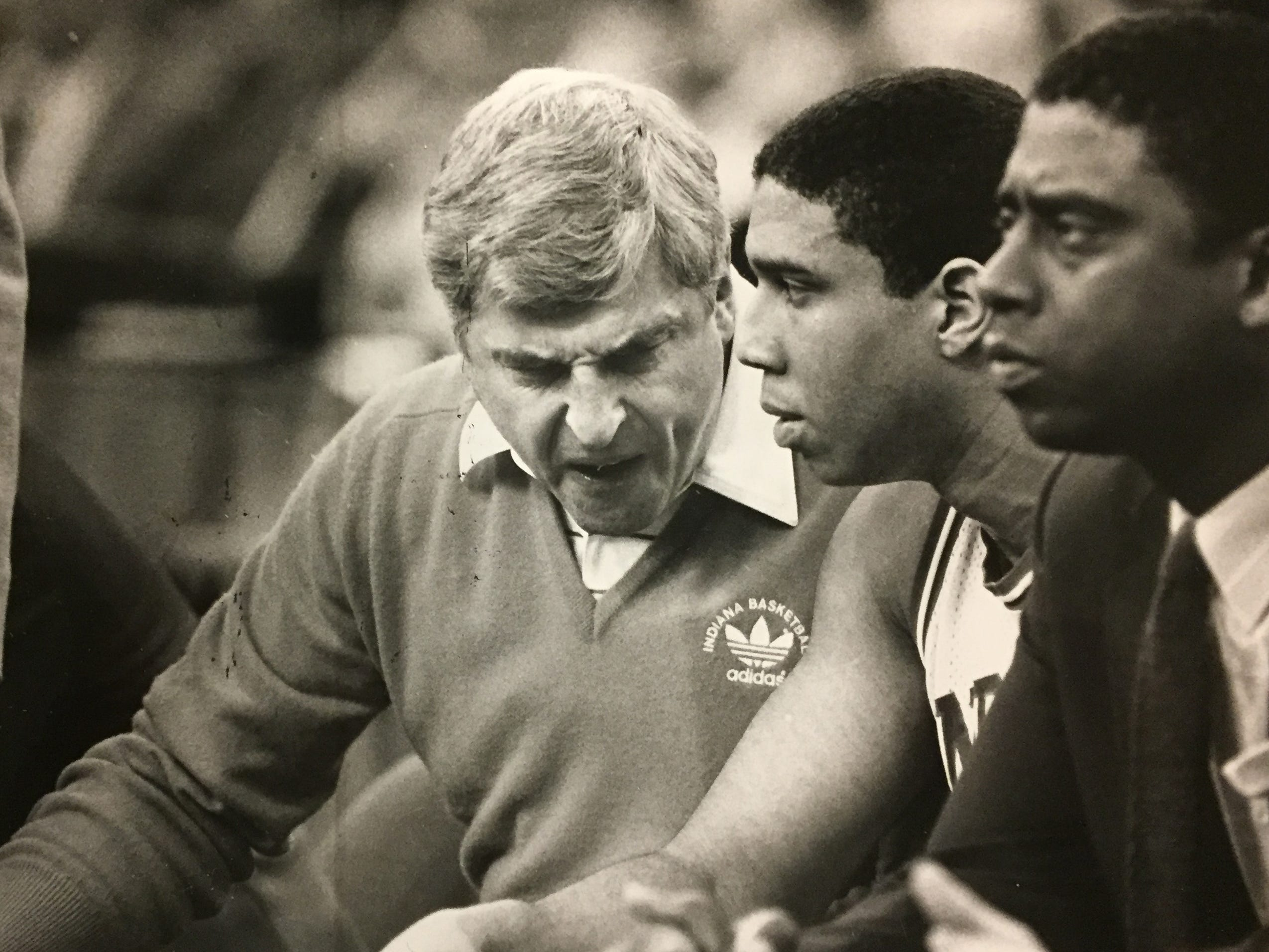 Bob Knight appears disgusted as he lectures Daryl Thomas. The senior responded to Knight's pep talk and finished with 27 points and eight rebounds against Auburn on March 14, 1987.