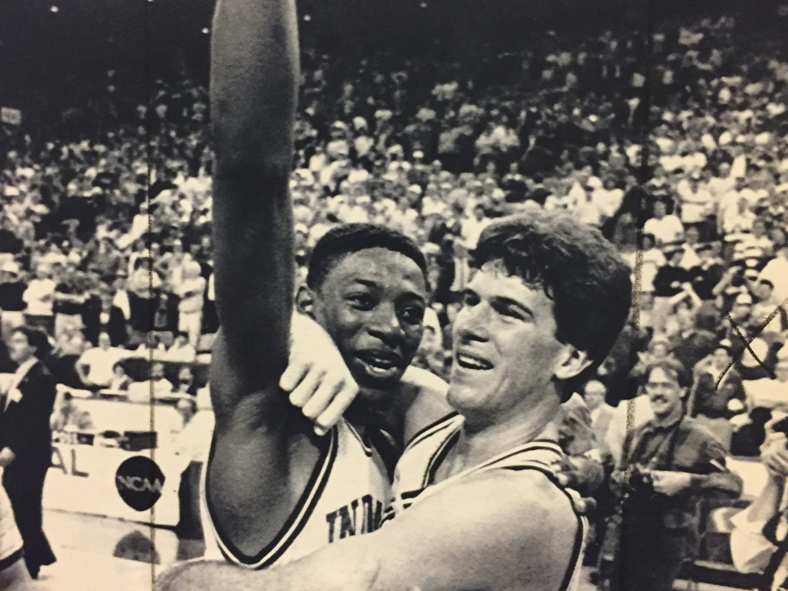 Steve Alford hugs Keith Smart after the Hoosiers beat LSU to advance to the 1987 Final Four.