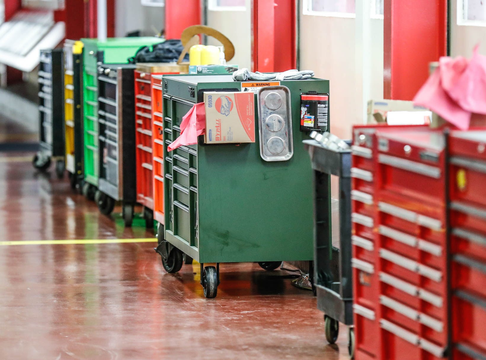 Employee tool boxes line the walls in the Cummins Technical Center, 1900 McKinley Ave, Columbus, Ind., on Monday, Jan. 7, 2018.