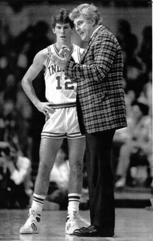 Indiana University basketball coach Bobby Knight with Steve Alford March 18 1984. AP photo
