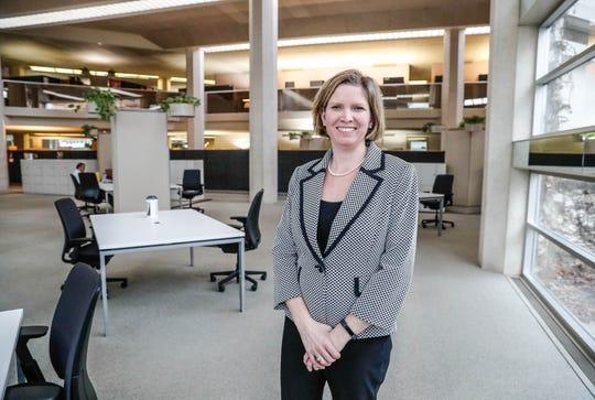 Vice President and Chief Technical Officer at Cummins Inc., Jennifer Rumsey, stands in a co-working space at the company's Columbus headquarters.