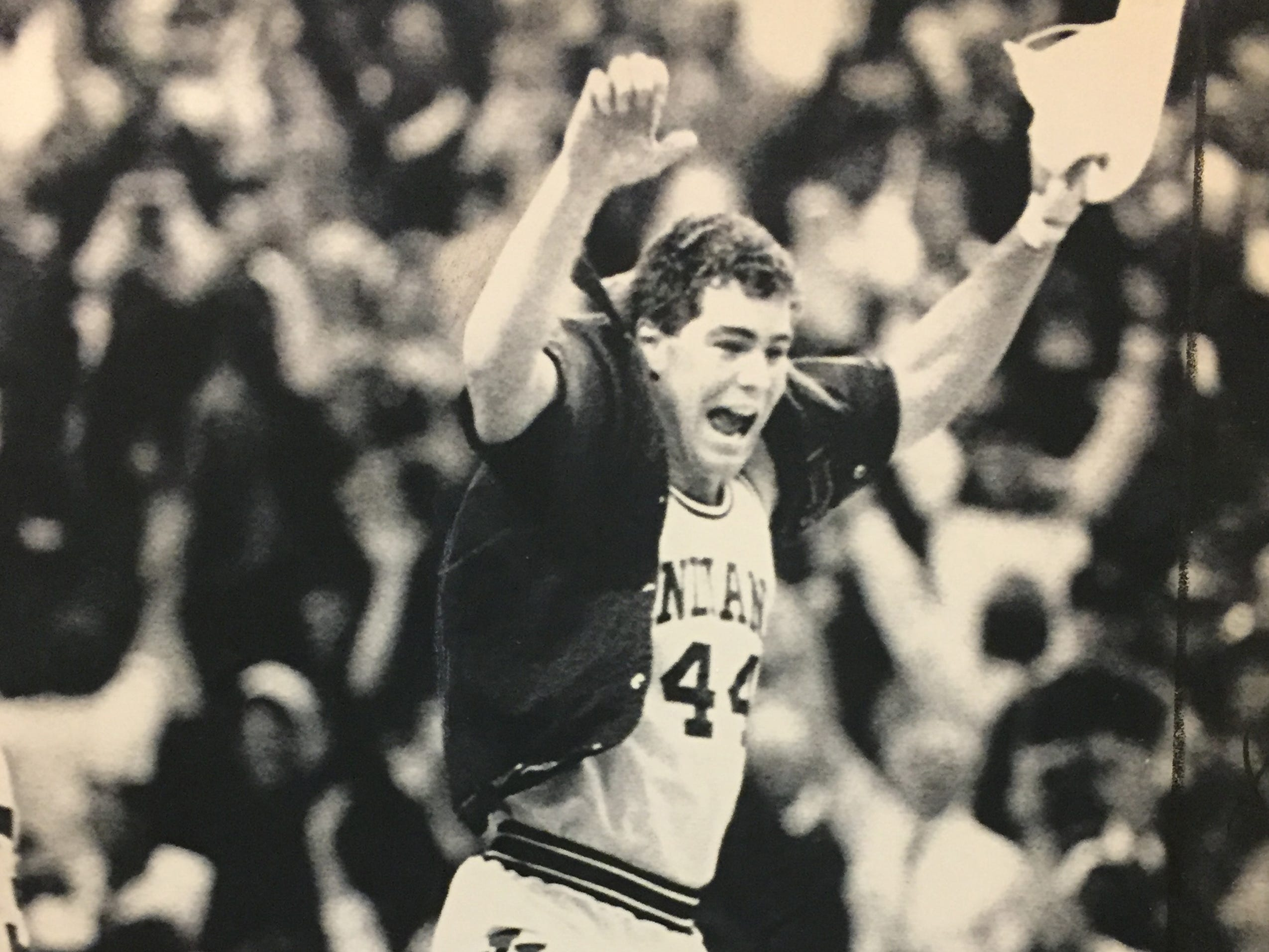 Joe Hillman jumps for joy following IU's win in the final of the NCAA Midwest Regional over LSU on March 22, 1987.