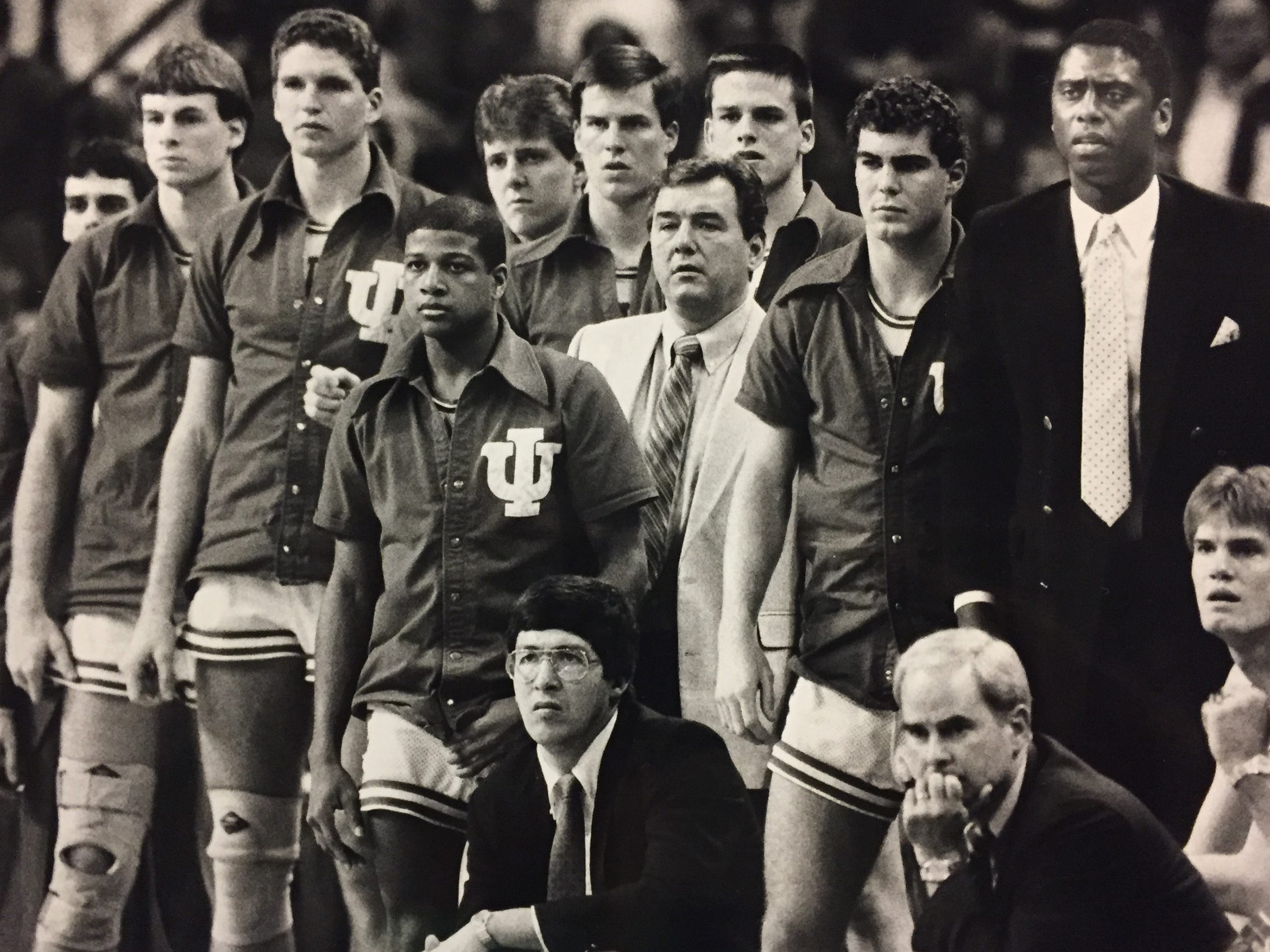 The IU bench during the 1987 NCAA tournament.