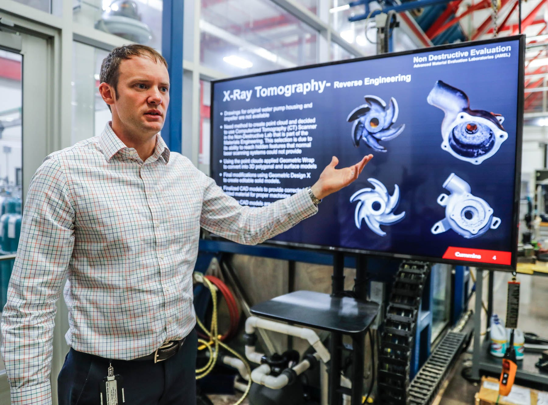 Materials Science Manager, Corey Trobaugh, explains reverse engineering using X-Ray Tomography in the Advanced Materials Evaluation Lab at the Cummins Technical Center, 1900 McKinley Ave, Columbus, Ind., on Monday, Jan. 7, 2018.