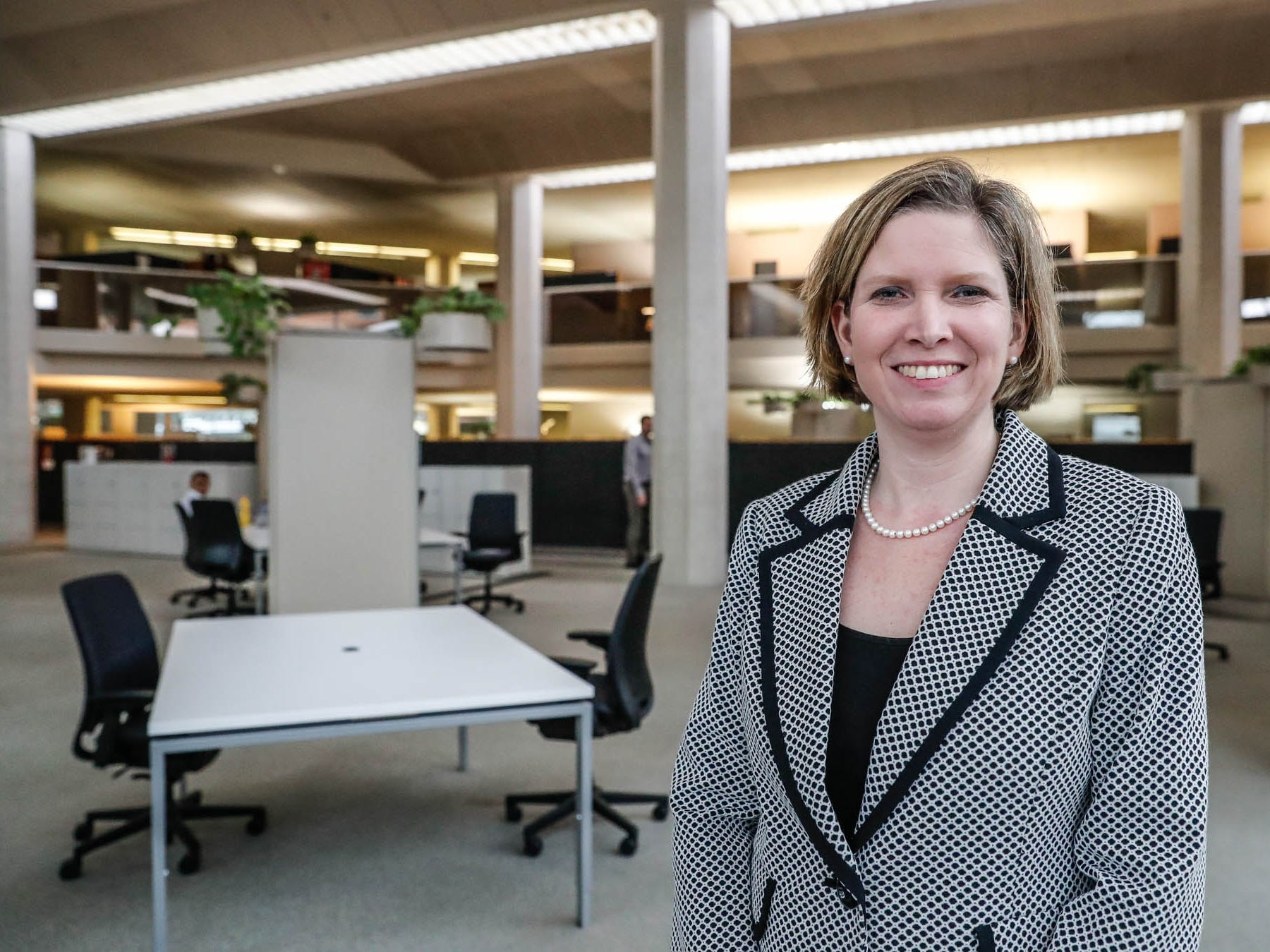 Vice President and Chief Technical Officer at Cummins Inc., Jennifer Rumsey, stands in a co-working space at the companies Columbus, Ind. headquarters on Monday, Jan. 8, 2019.