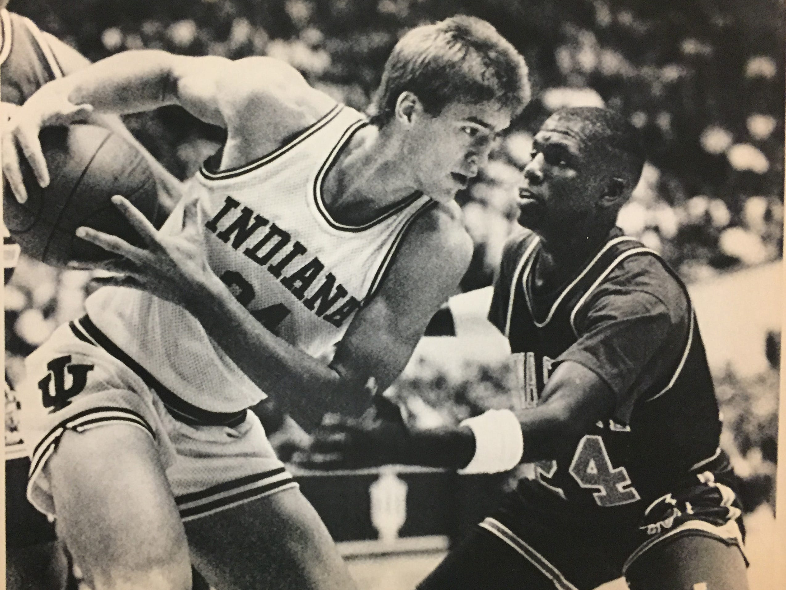 IU's Matt Nover pulls a rebounds away from Iowa State's Justus Thigpen, Dec. 23, 1989.