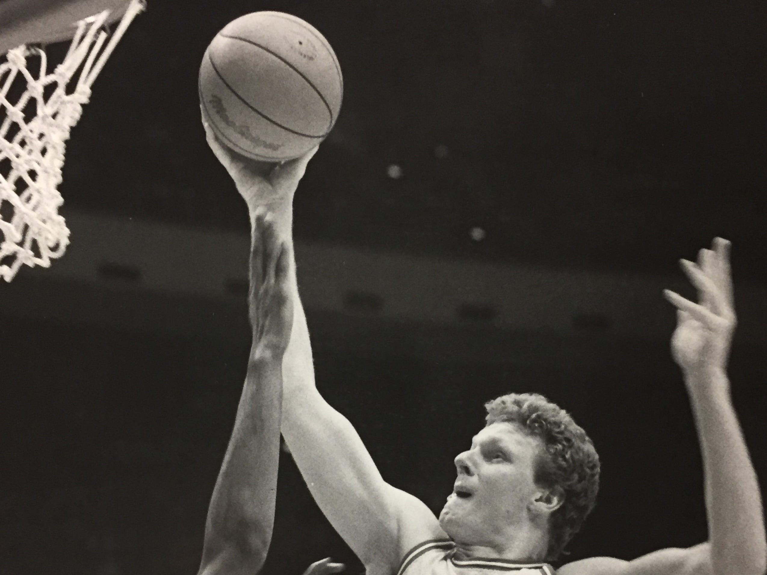 Uwe Blab puts up a shot over Miami of Ohio's Ron Harper on Nov. 26, 1983.