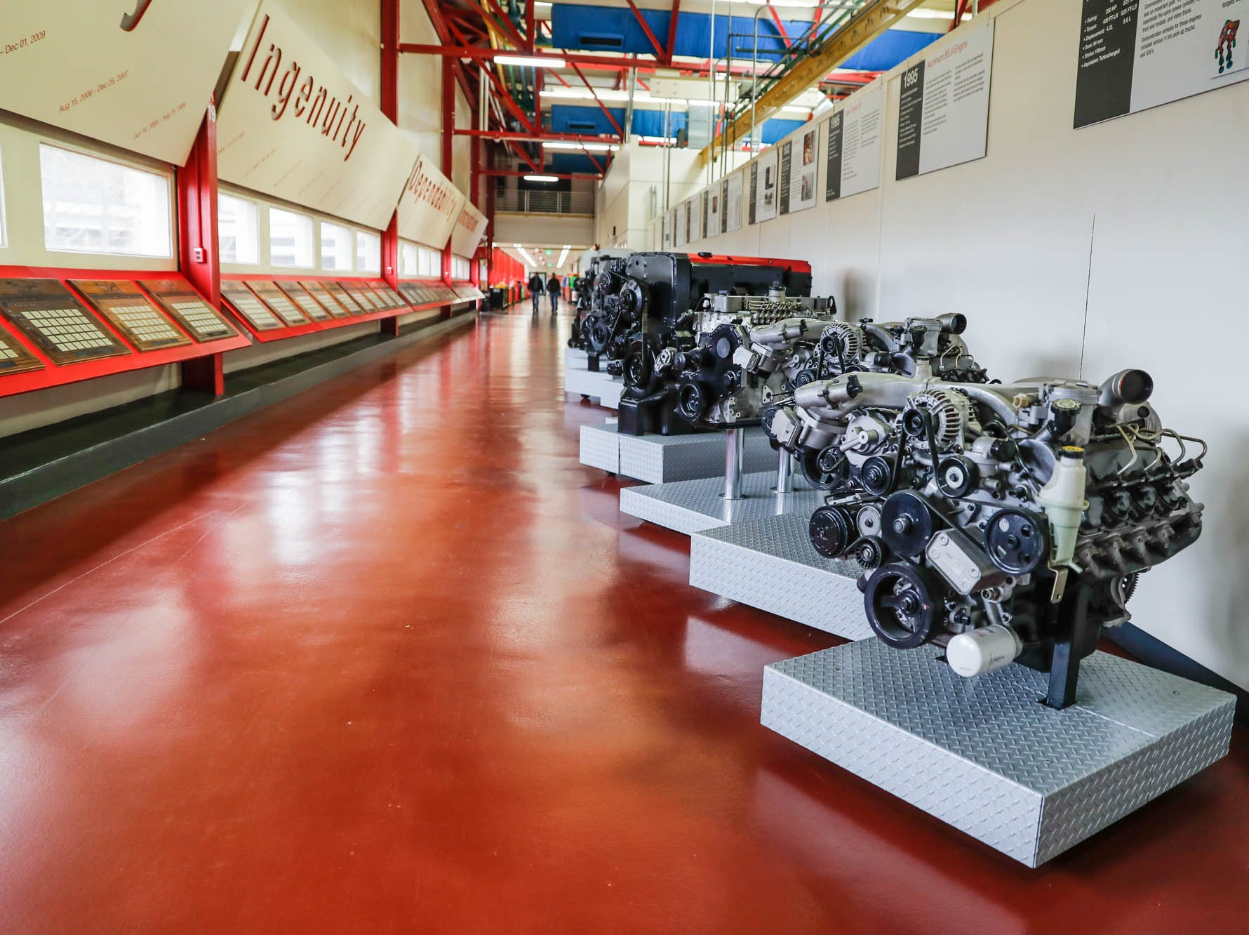 Display engines line the walkway in the Cummins Technical Center, 1900 McKinley Ave, Columbus, Ind., on Monday, Jan. 7, 2018.
