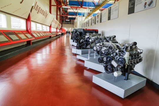 Display engines line the walkway in the Cummins Technical Center at 1900 McKinley Ave. in Columbus.