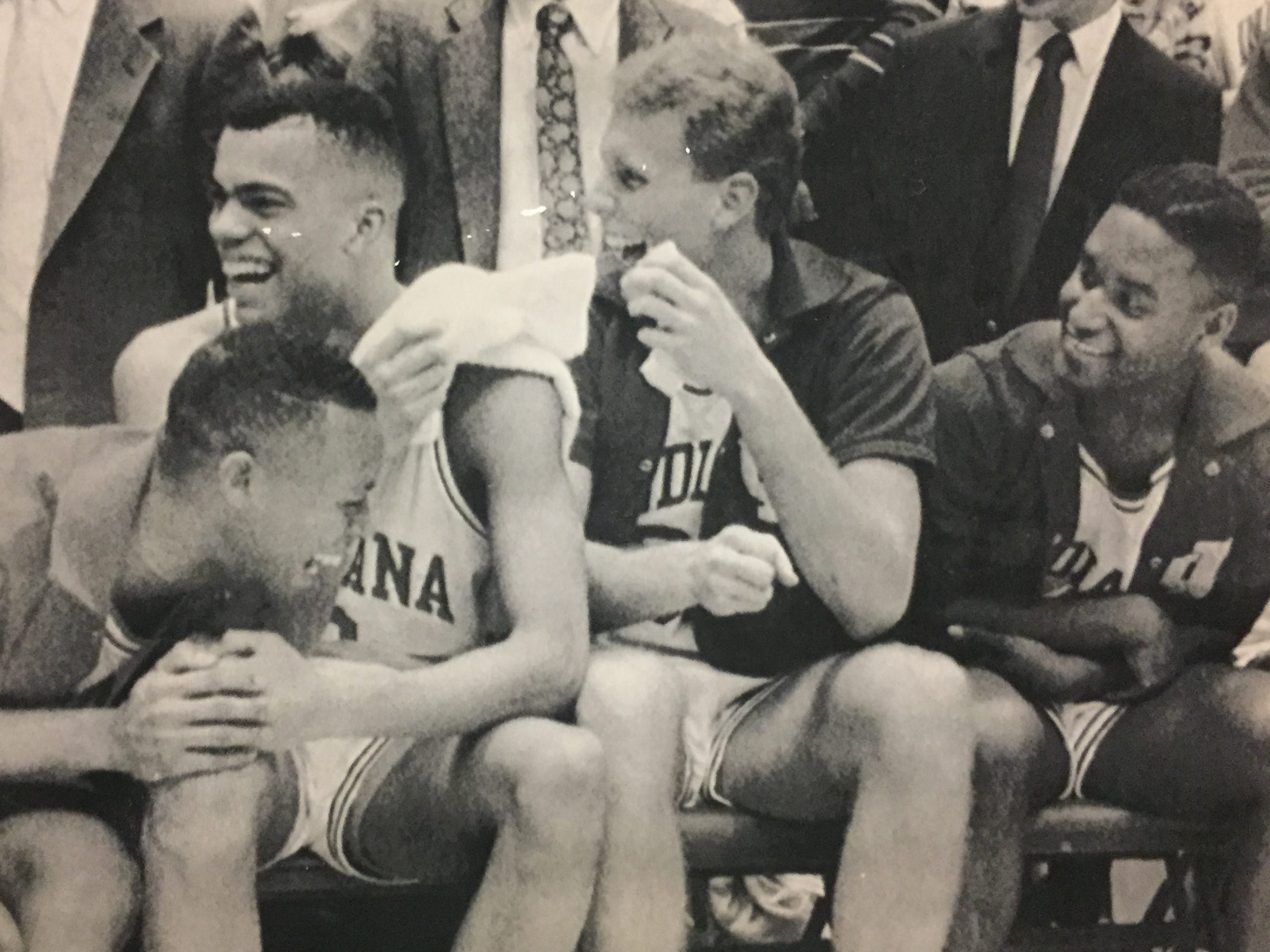 Left to right: Jamaal Meeks, Jay Edwards, Eric Anderson and Lyndon Jones celebrate their victory over Wisconsin on March 9, 1989.