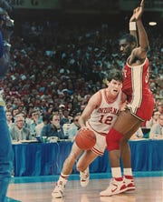 Steve Alford tries to drive by UNLV's Eldridge Hudson in the national semifinal, March 28. 1987.