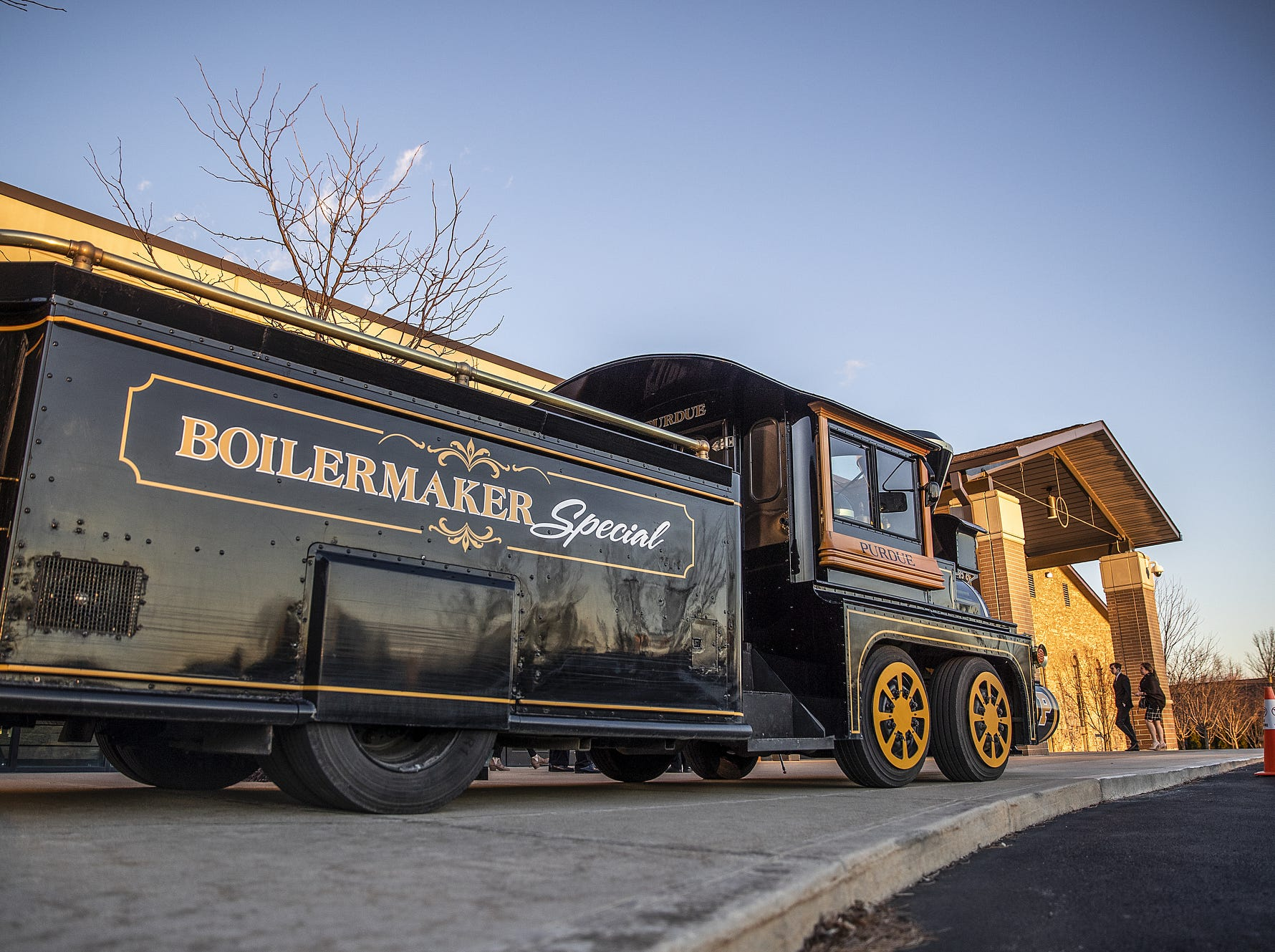 The Boilermaker Special sits outside the funeral for former Purdue student and superfan Tyler Trent at College Park Church in Indianapolis, Tuesday, Jan. 8, 2019. The 20-year-old died of a rare form of bone cancer on Jan. 1, 2019.