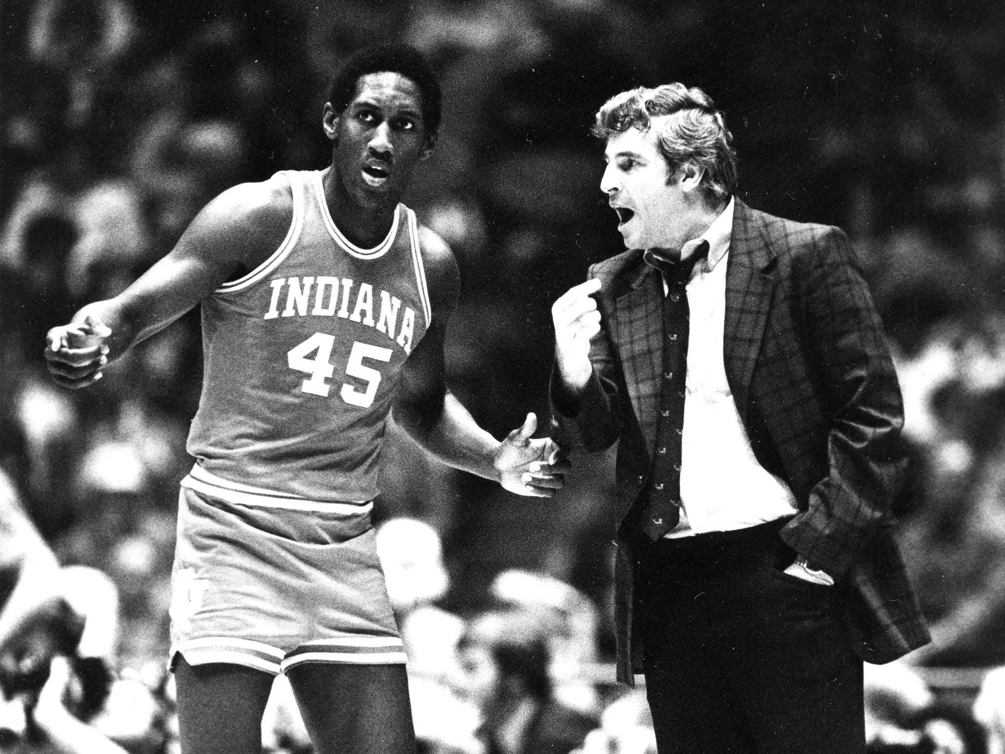 Indiana's Ray Tolbert gets some words from his coach Bobby Knight during the NCAA semi-finals, in Philadelphia, on March 29, 1981.