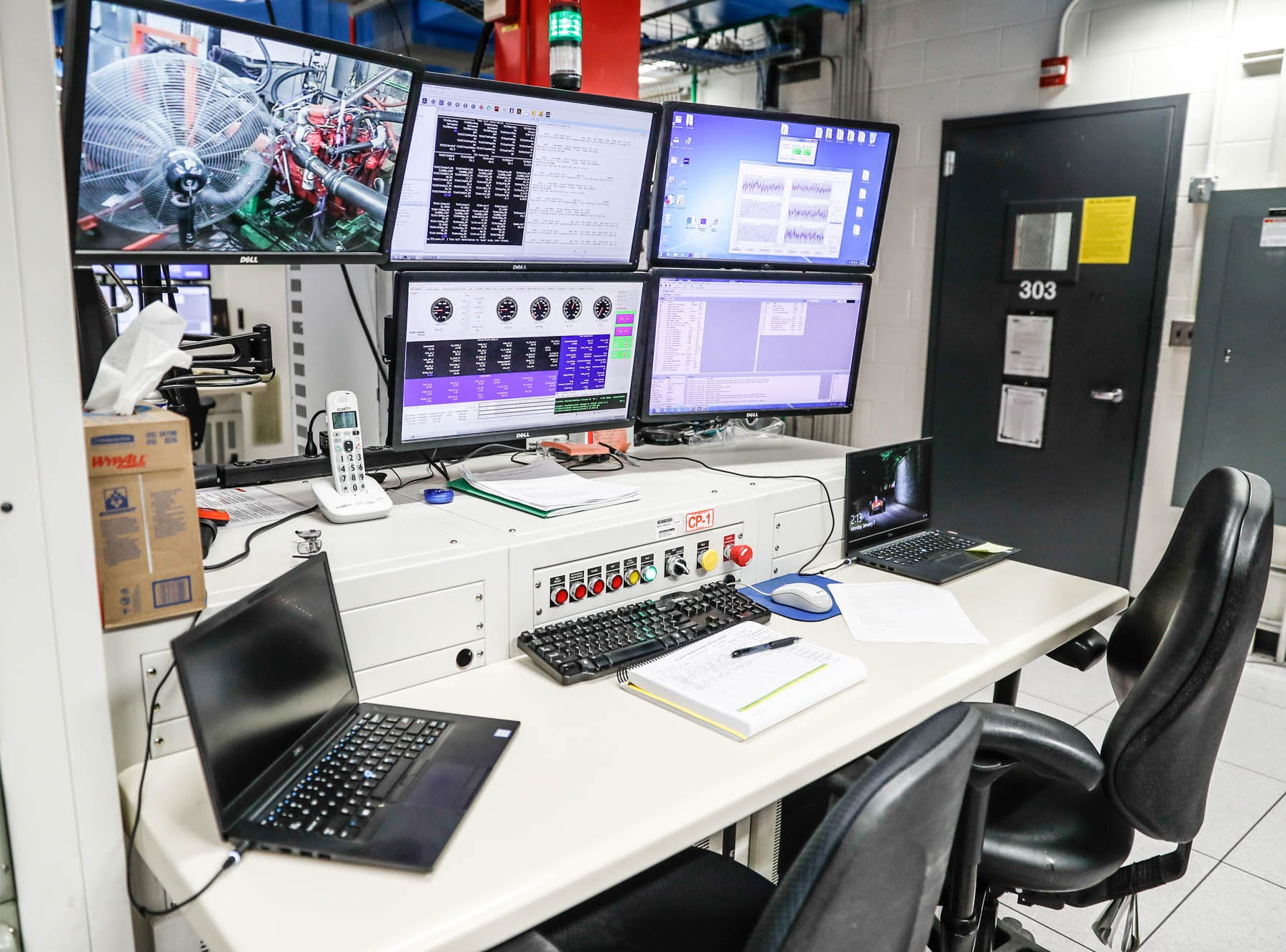 Cummins engines are rigorously tested in test cells like the one shown here at the Cummins Technical Center, 1900 McKinley Ave, Columbus, Ind., on Monday, Jan. 7, 2018. An engineer can control the testing from a test cell while the engine is inside a closed room to the right of the computer console.
