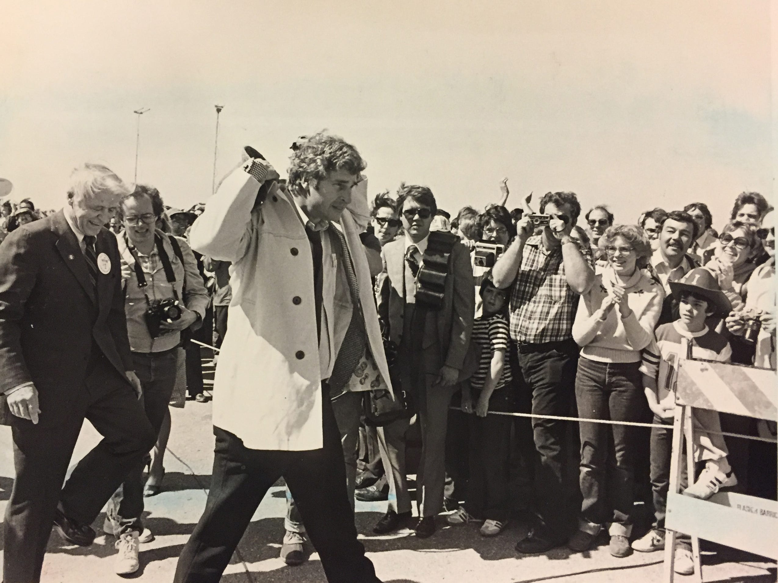 IU coach Bob Knight is followed by Gov. Robert Orr at Weir Cook Airport on March 31, 1981, the day after winning the national title.