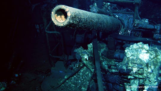 Gun mount on the USS Indianapolis at the bottom of the Philippine Sea.