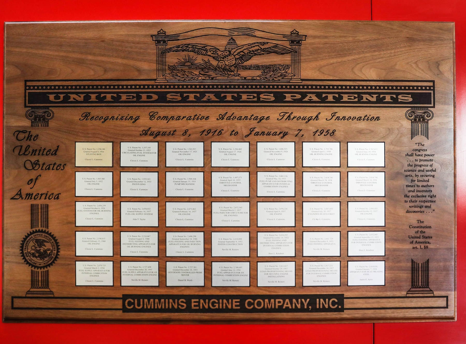 As Cummins Inc. turns 100 years old, the first of 3000 patents held by the company are on display in the Cummins Technical Center, 1900 McKinley Ave, Columbus, Ind., on Monday, Jan. 7, 2018. The patents shown here range from Aug. 8, 1916-Jan.7, 1958.