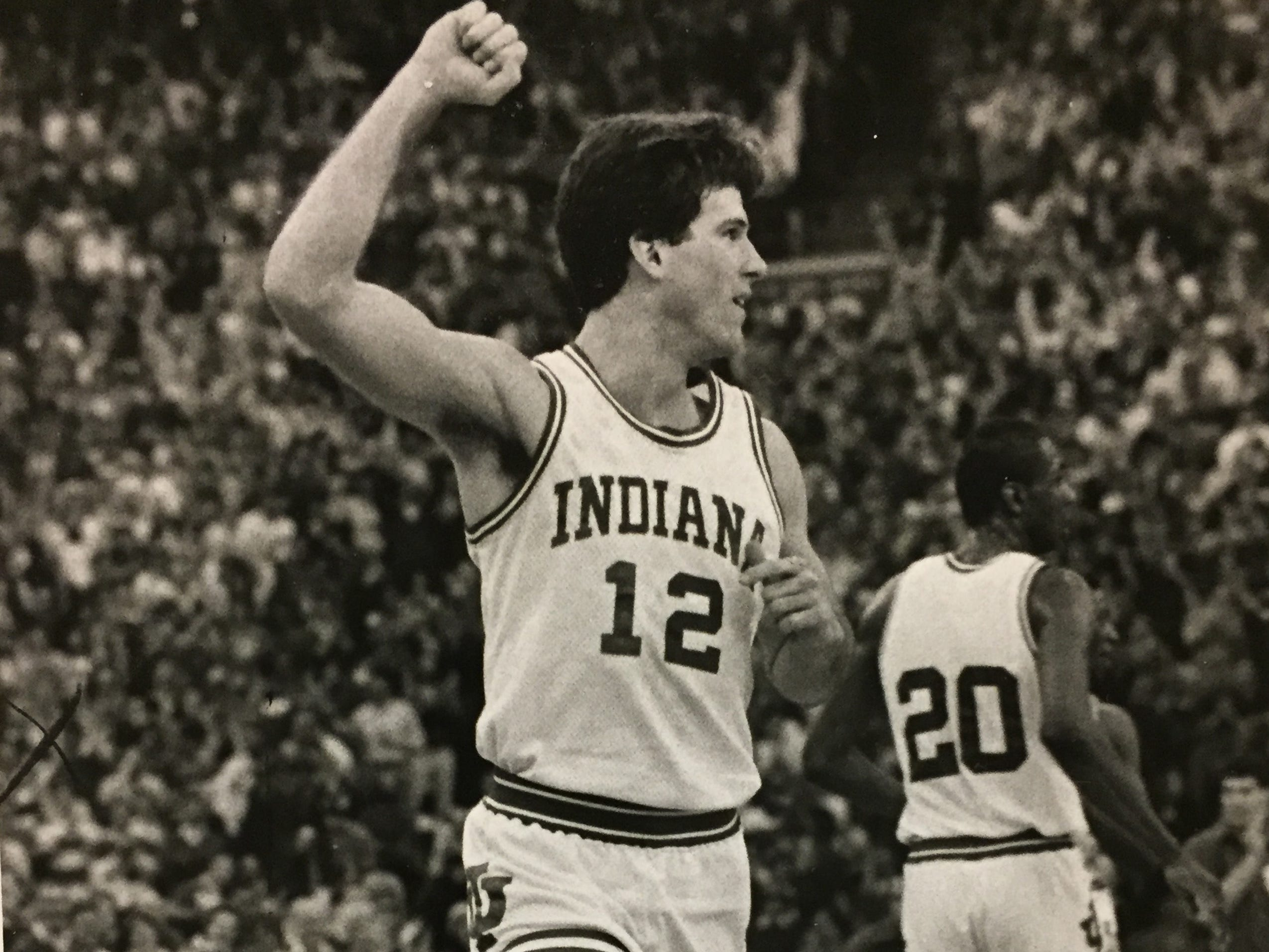 Steve Alford celebrates during IU's win over Auburn, March 14, 1987.
