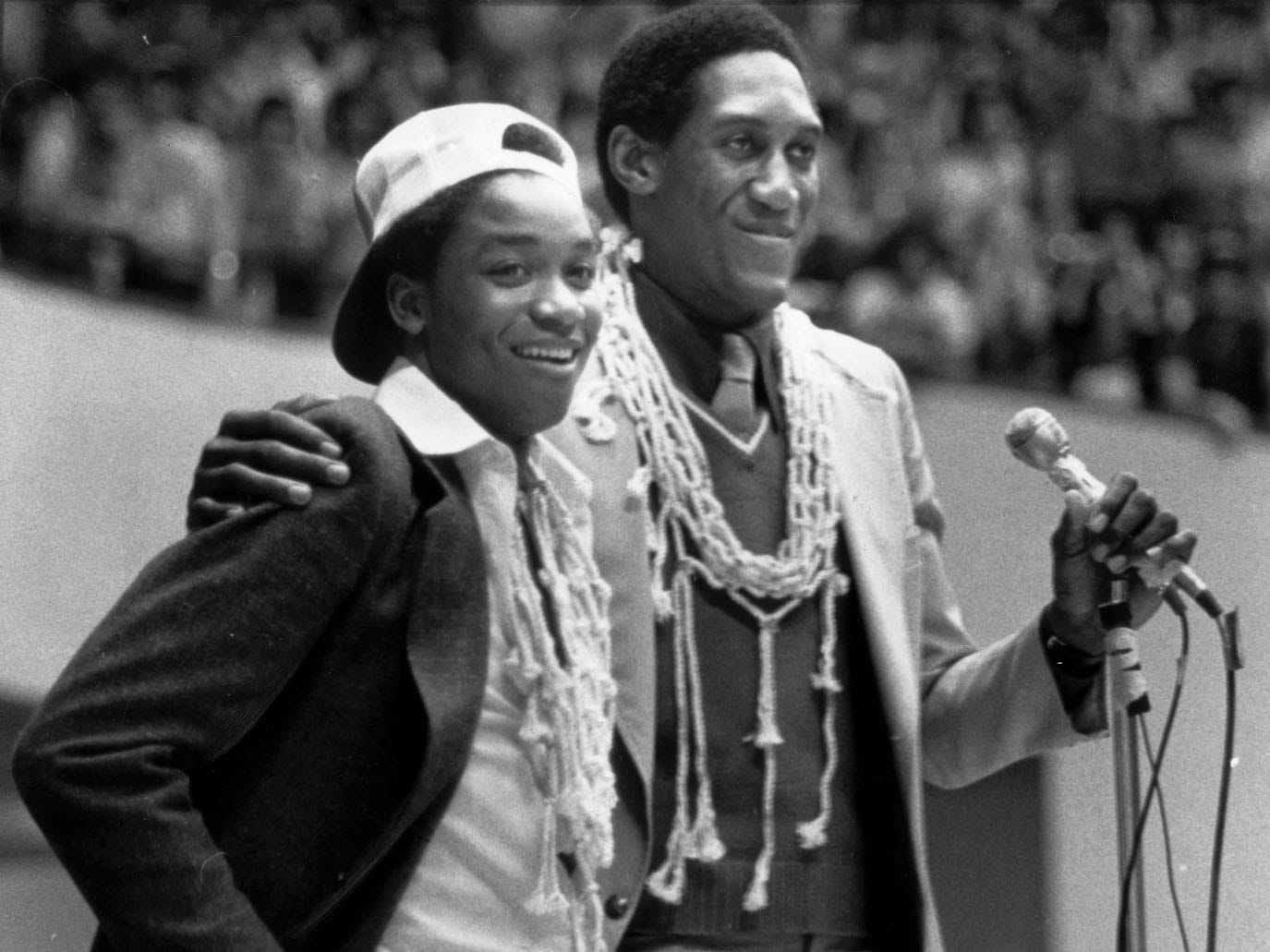 Indiana University players Isiah Thomas (left) and Ray Tolbert bask in glory at Assembly Hall on March 31 1981 after winning the NCAA championship