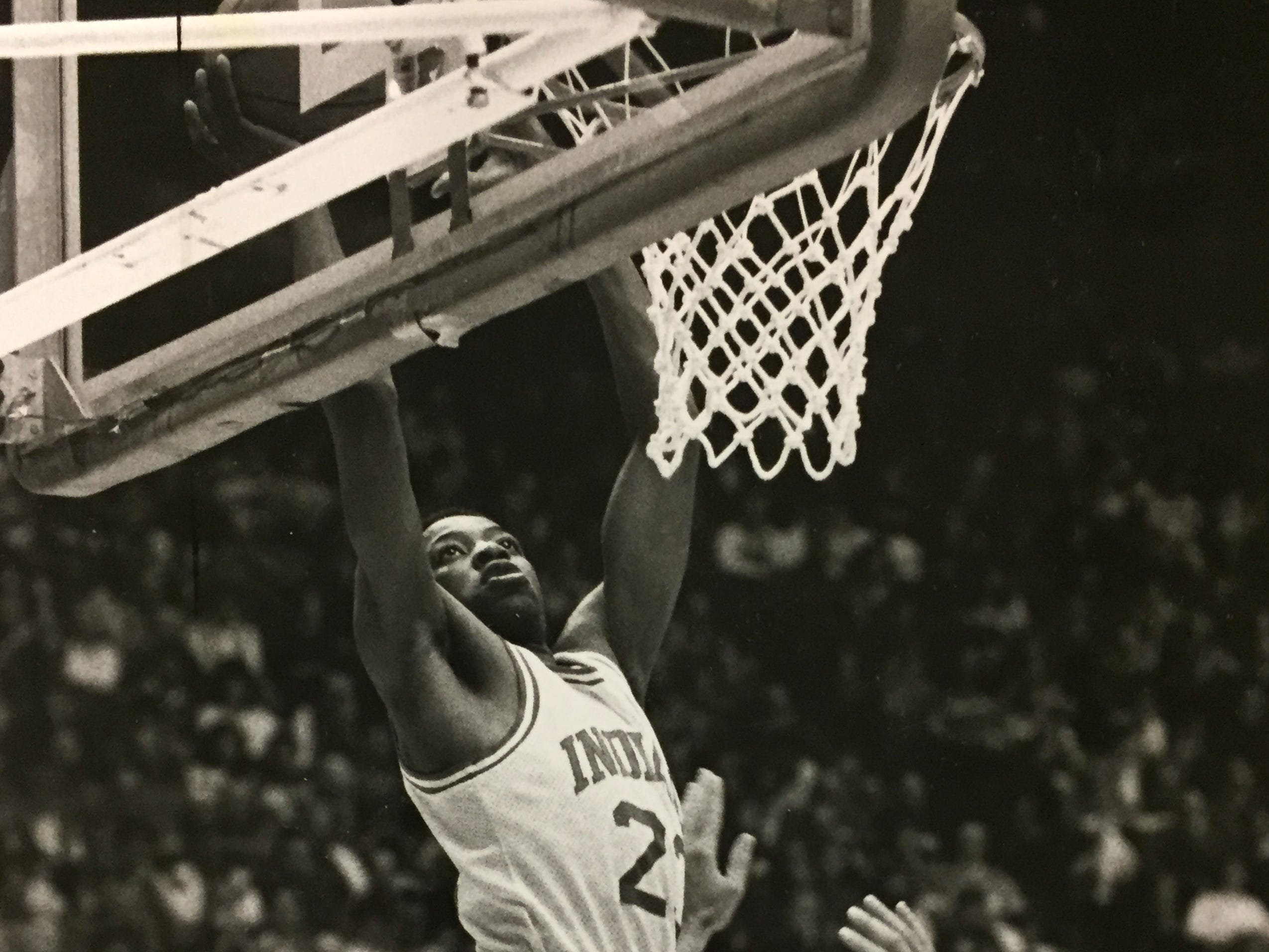 Keith Smart scores on an alley-oop play over John Anderson of Ohio State, March 5, 1988.