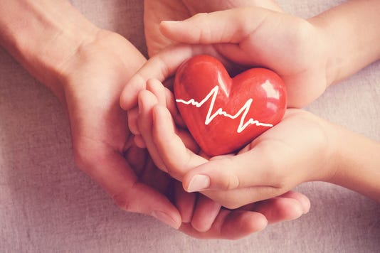 Adult And Child Hands Holiding Red Heart Adult And Child Hands Holiding Red Heart Health Care Organ Donation Family Insurance Concept