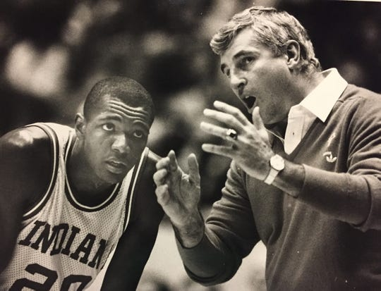 Rick Calloway gets a lecture from Bob Knight during the Hoosiers' exhibition game of the Soviet Union national team.