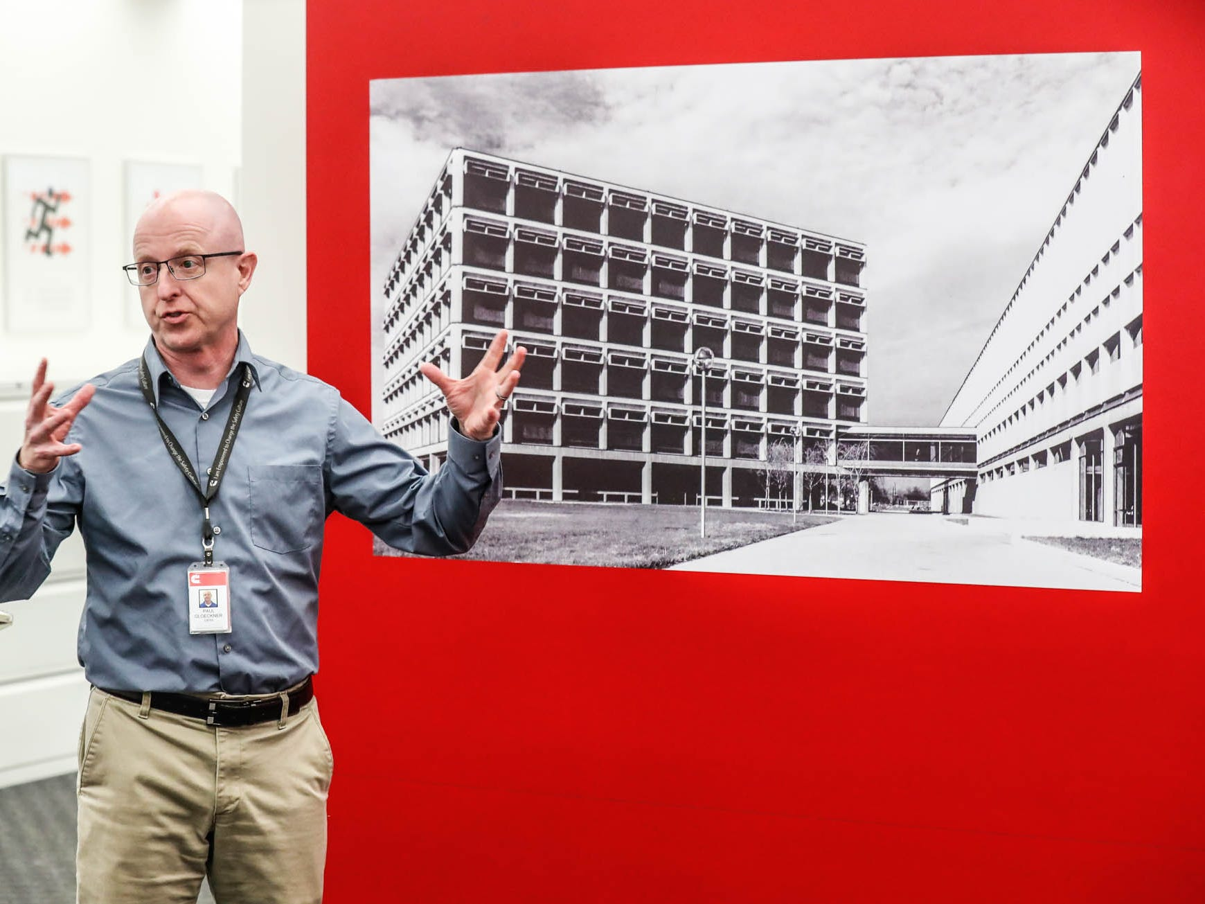 Director of Technical Service Labs Operations, Paul Gloeckner, talks about an original photo of the Cummins Technical Center, 1900 McKinley Ave, Columbus, Ind., during a tour on Monday, Jan. 7, 2018.