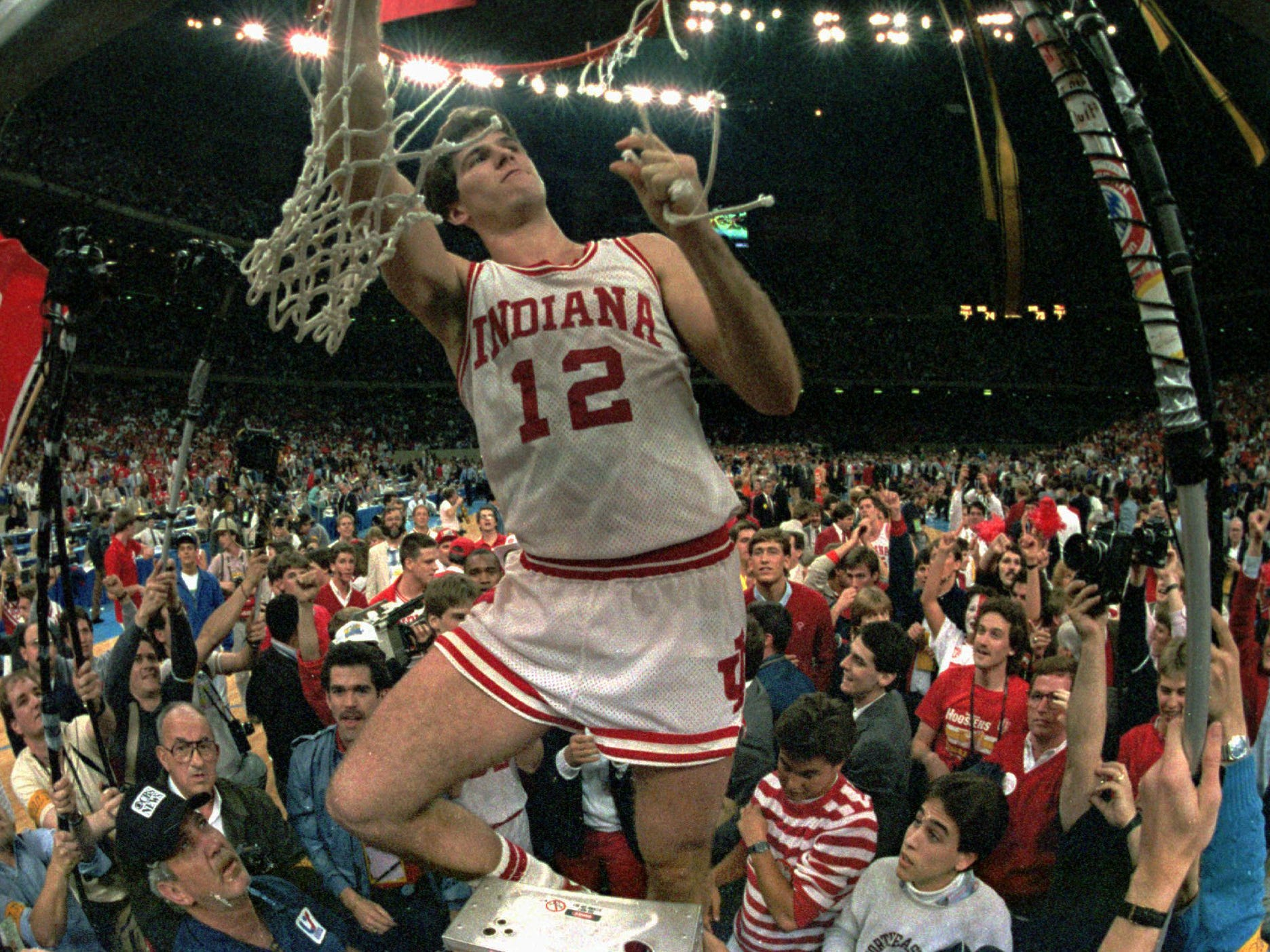 Indiana's Steve Alford cuts the net March 30 1987 at the Superdome after Indiana defeated Syracuse for the NCAA championship in New Orleans.