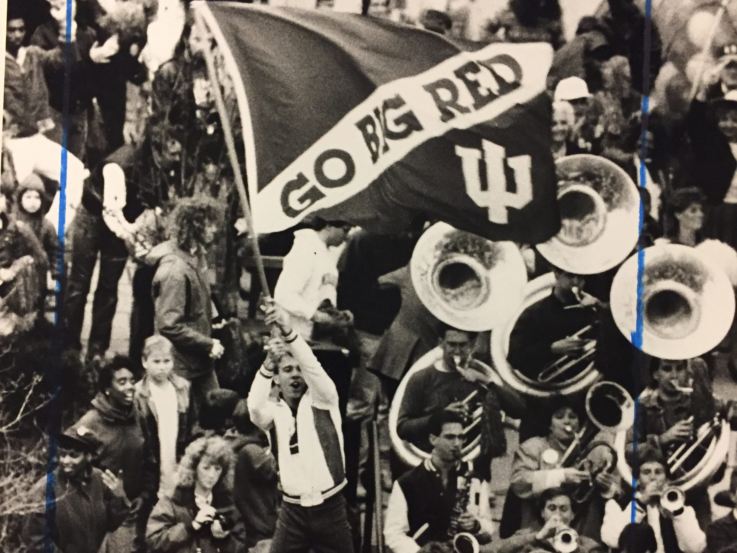 IU band members and fans cheer on the Hoosiers as they return to Bloomington with the 1987 NCAA championship.