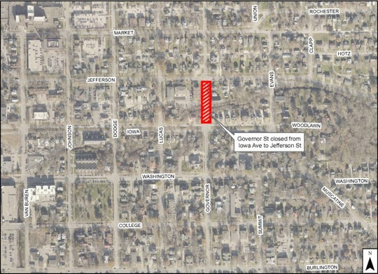 Governor Street is closing from Iowa Avenue to Jefferson Street starting Jan. 14 through the end of June.