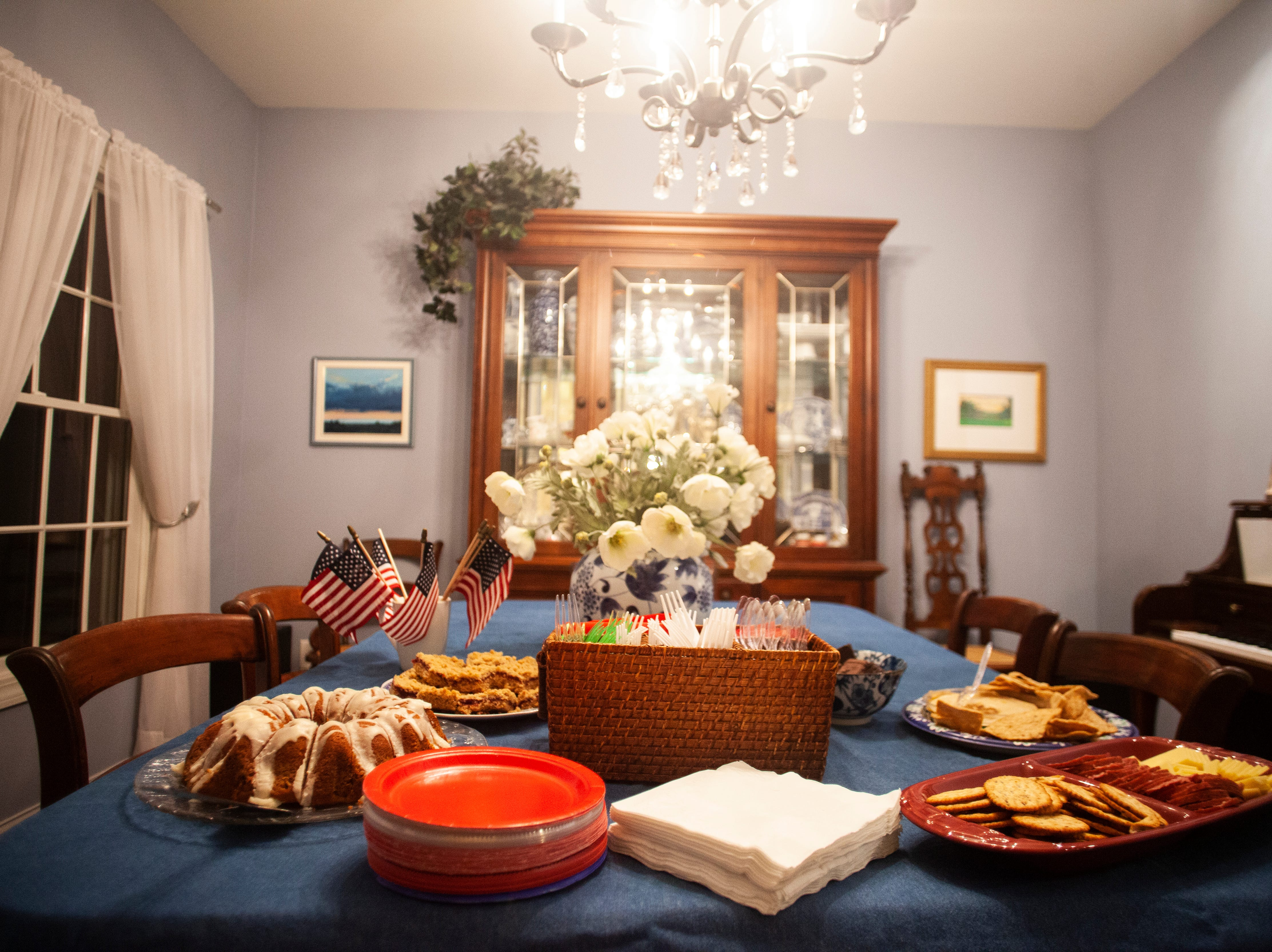 "A table of food is seen at the Johnson County ""Potluck Insurgency"" on Monday, Jan. 7, 2019, at a home in North Liberty, Iowa."